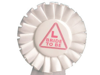 White & Pink Bride to Be Rosette
