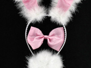 Pink Bunny Set with Ears on Wire Headband (3-Piece)