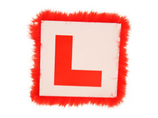 Red L Plate Badge with Feather Trim
