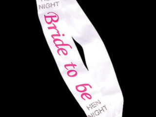 White Satin & Diamante Bride to Be Sash
