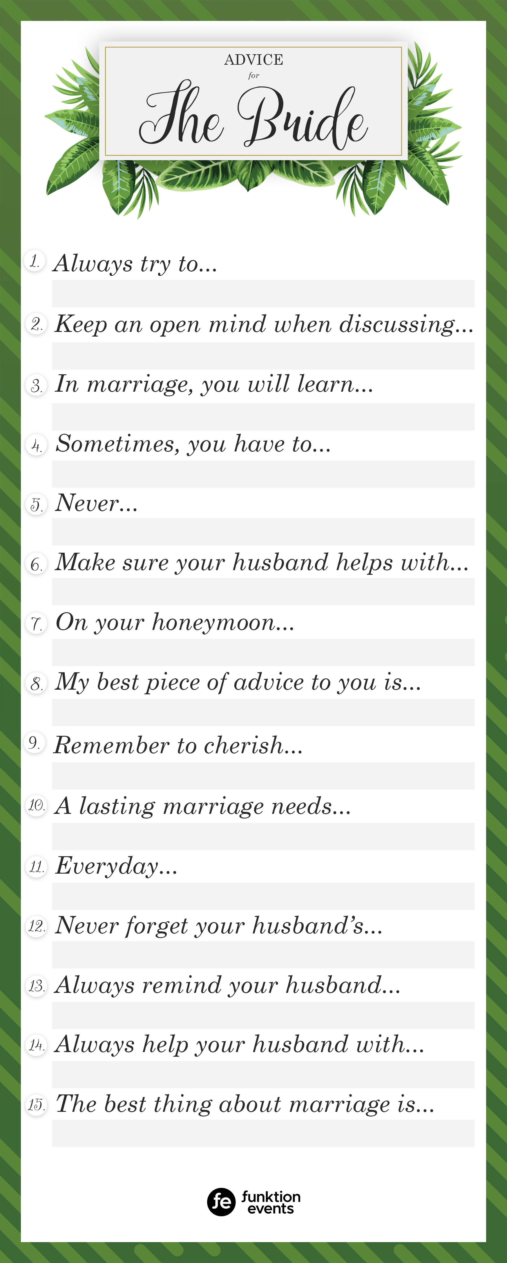 Printable Advice for the Bride
