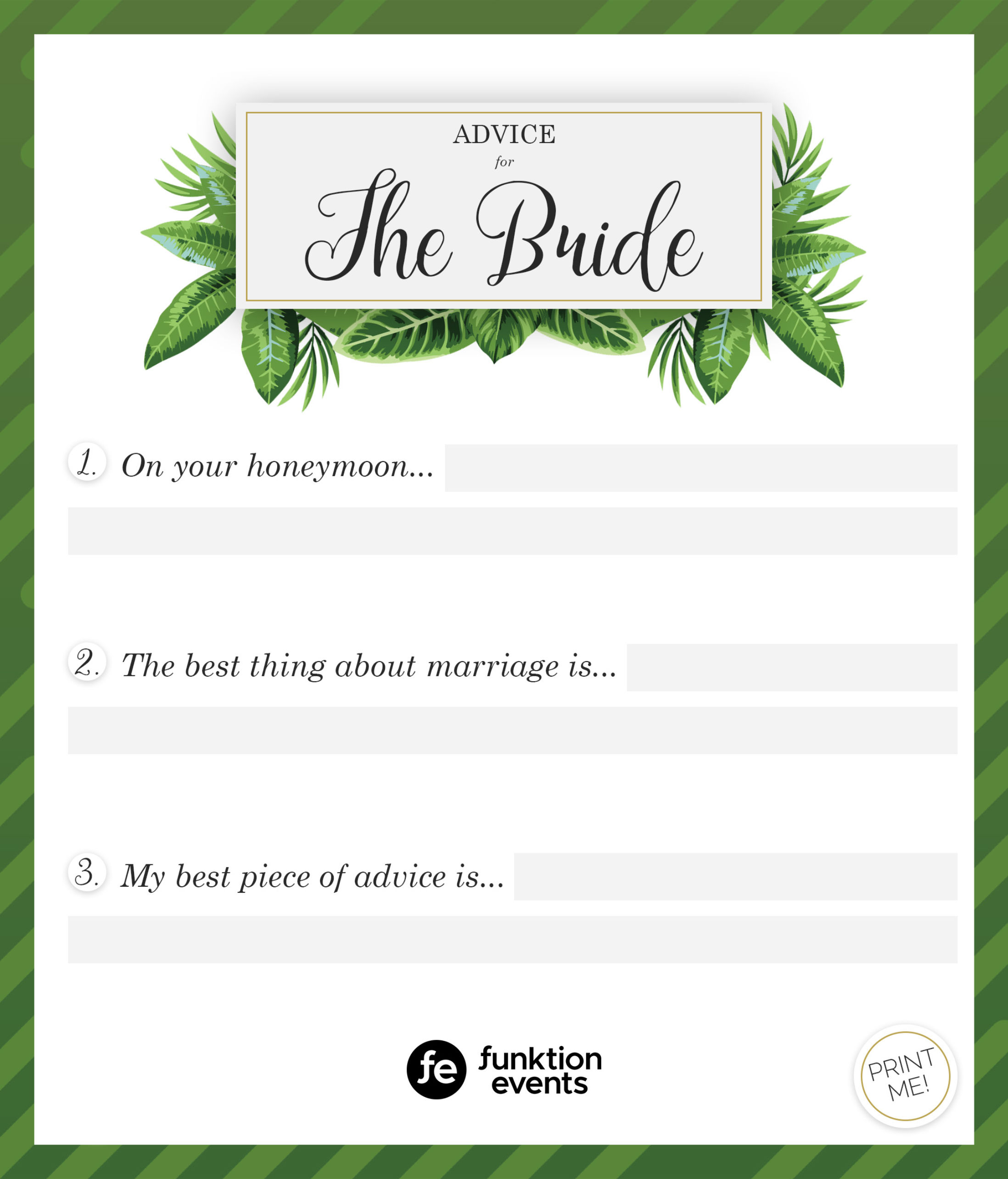 Advice for the Bride Printable - 1