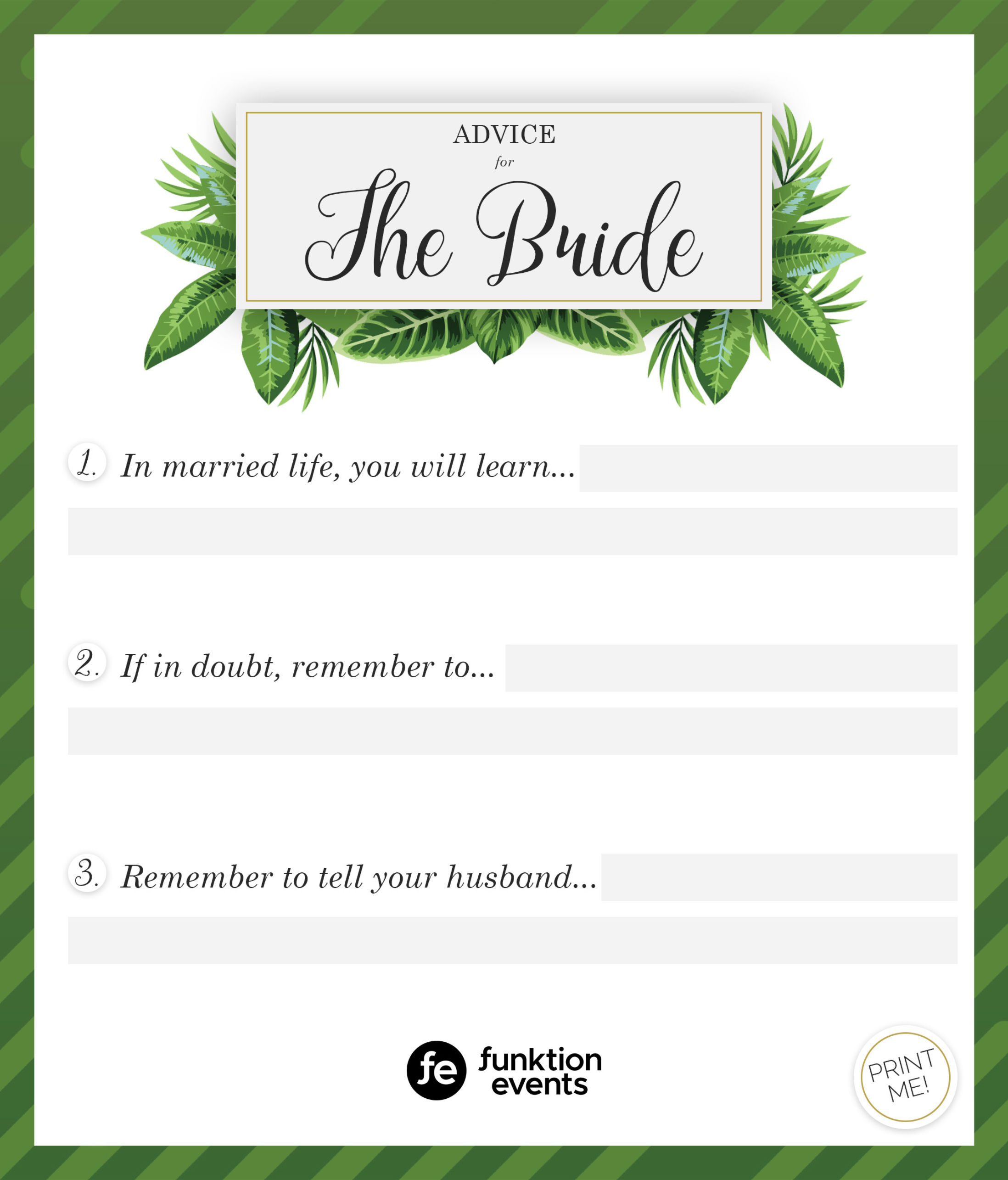 Advice for the Bride Printable - 2