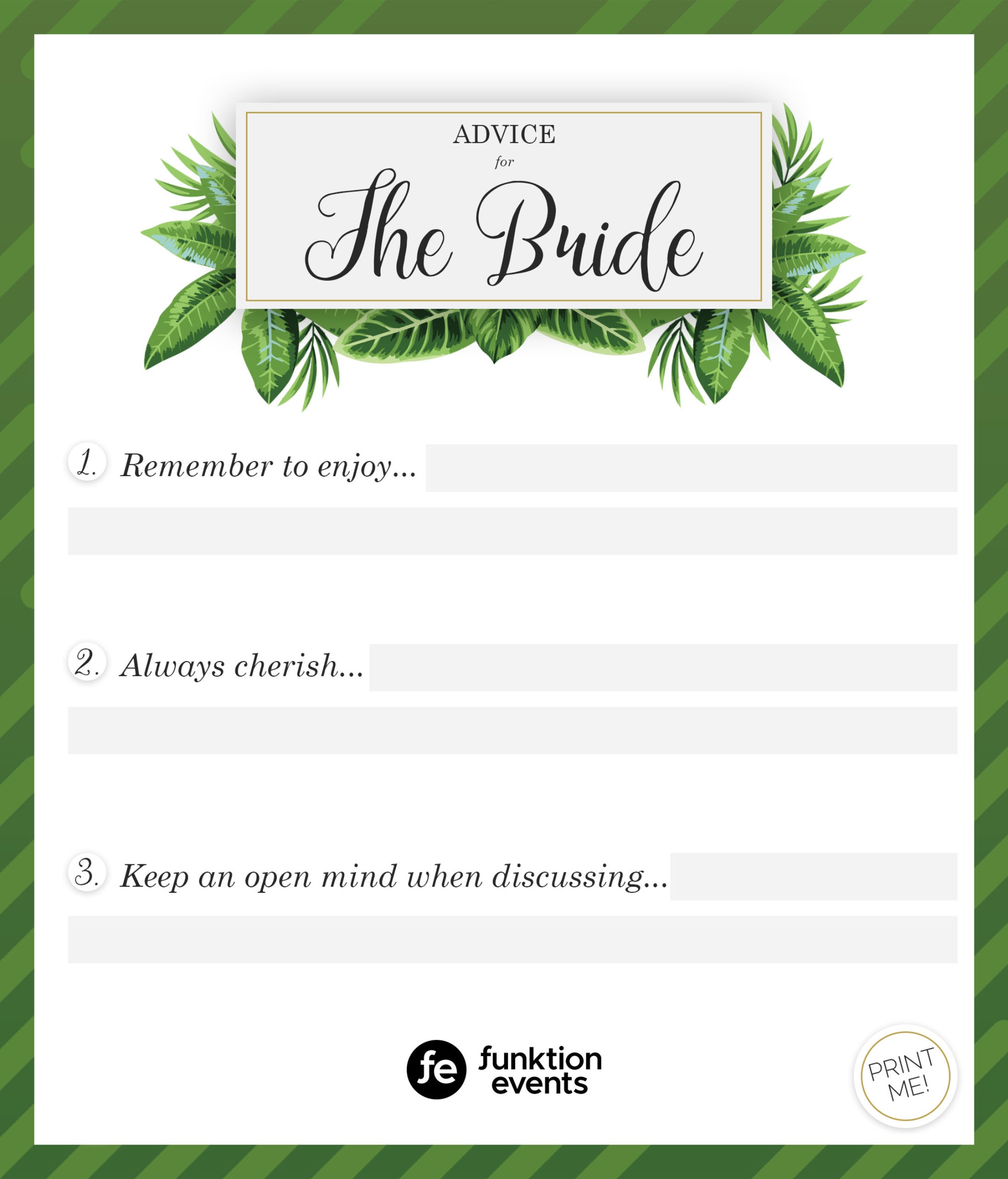 Advice for the Bride Printable - 3