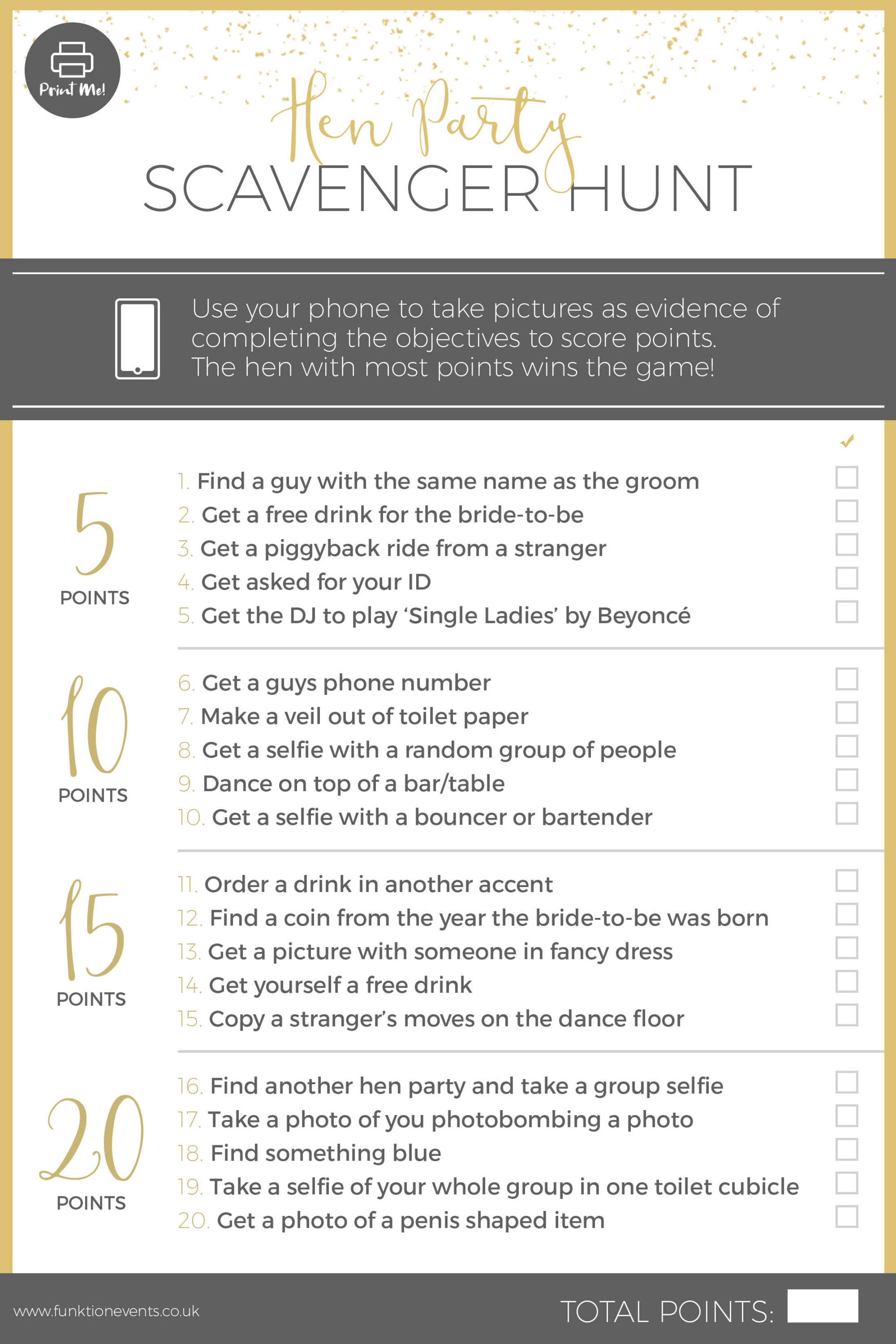 Printable Hen Party Scavenger Hunt - Type 1