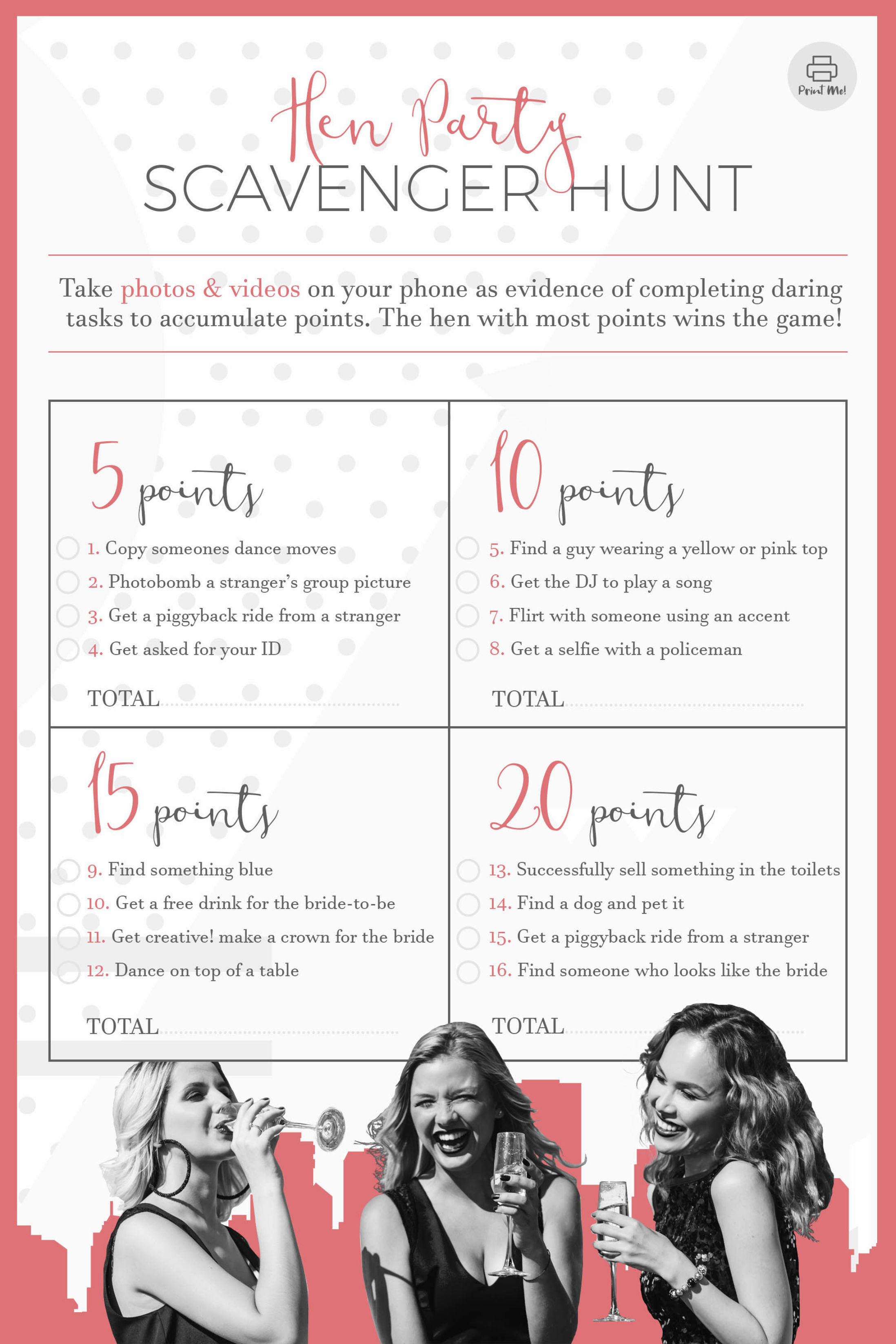 Printable Hen Party Scavenger Hunt - Type 2