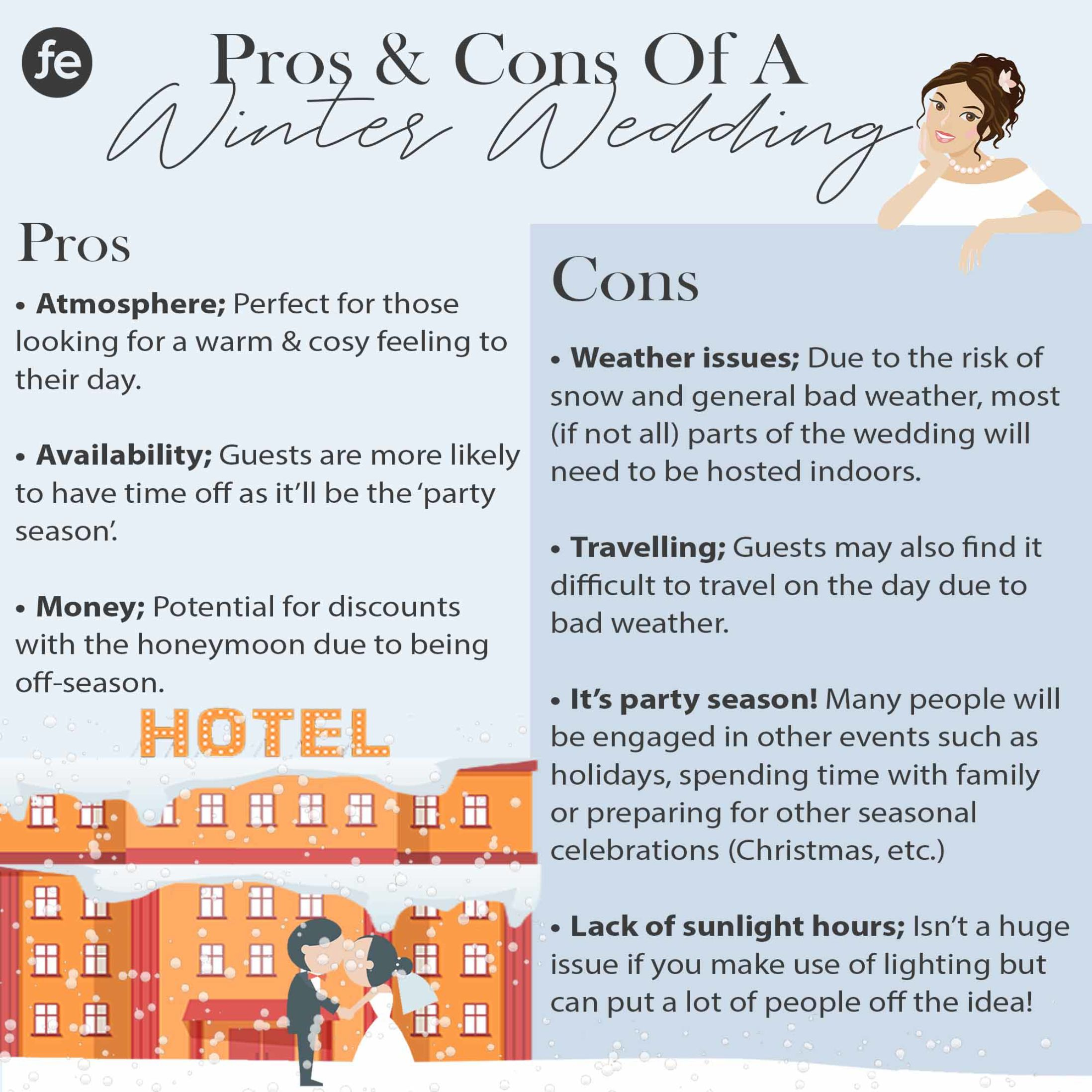 Winter Wedding Guide - Pros and Cons of A Winter Wedding