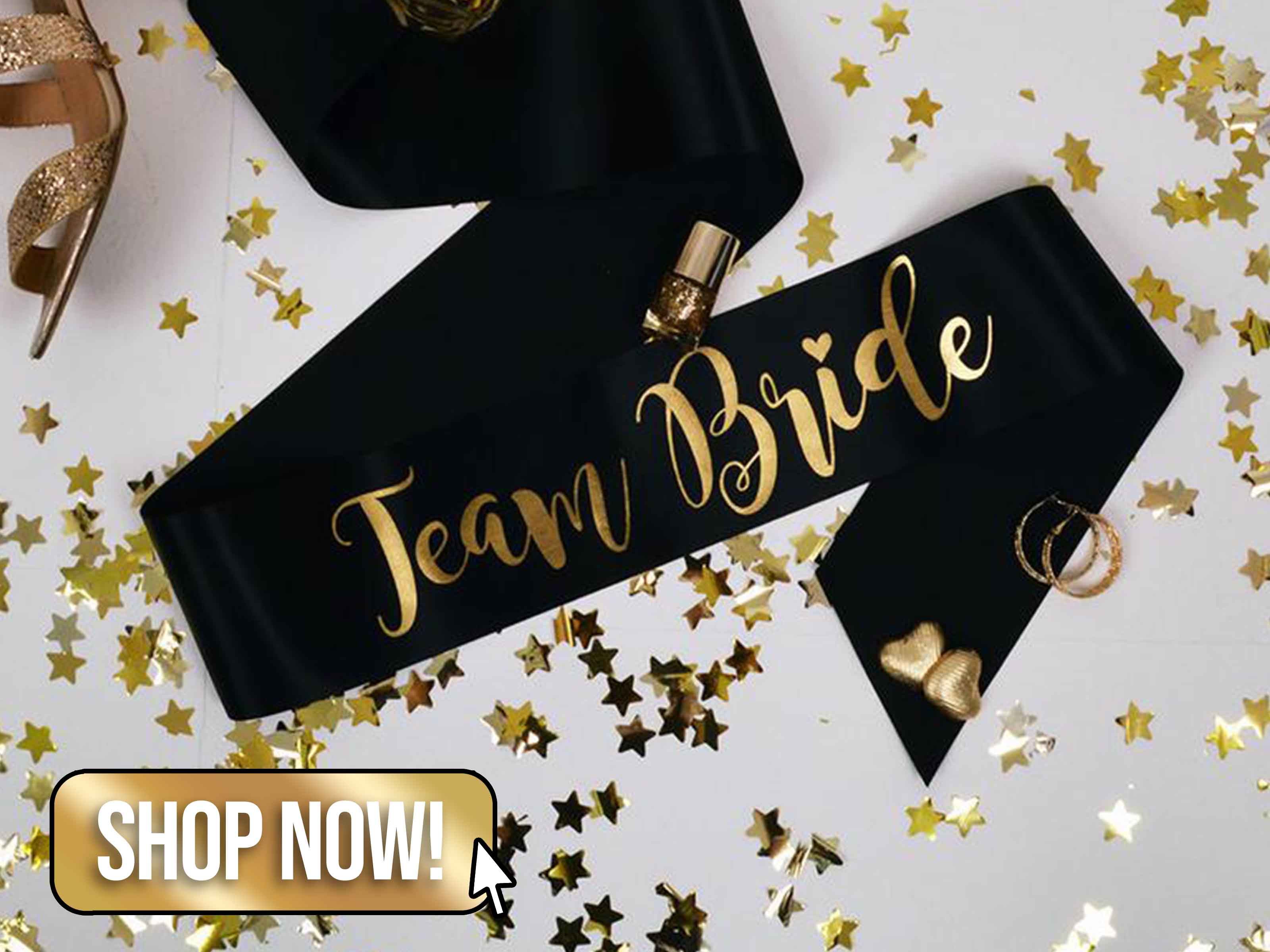 Black Team Bride Sash - AllTiedUpUK