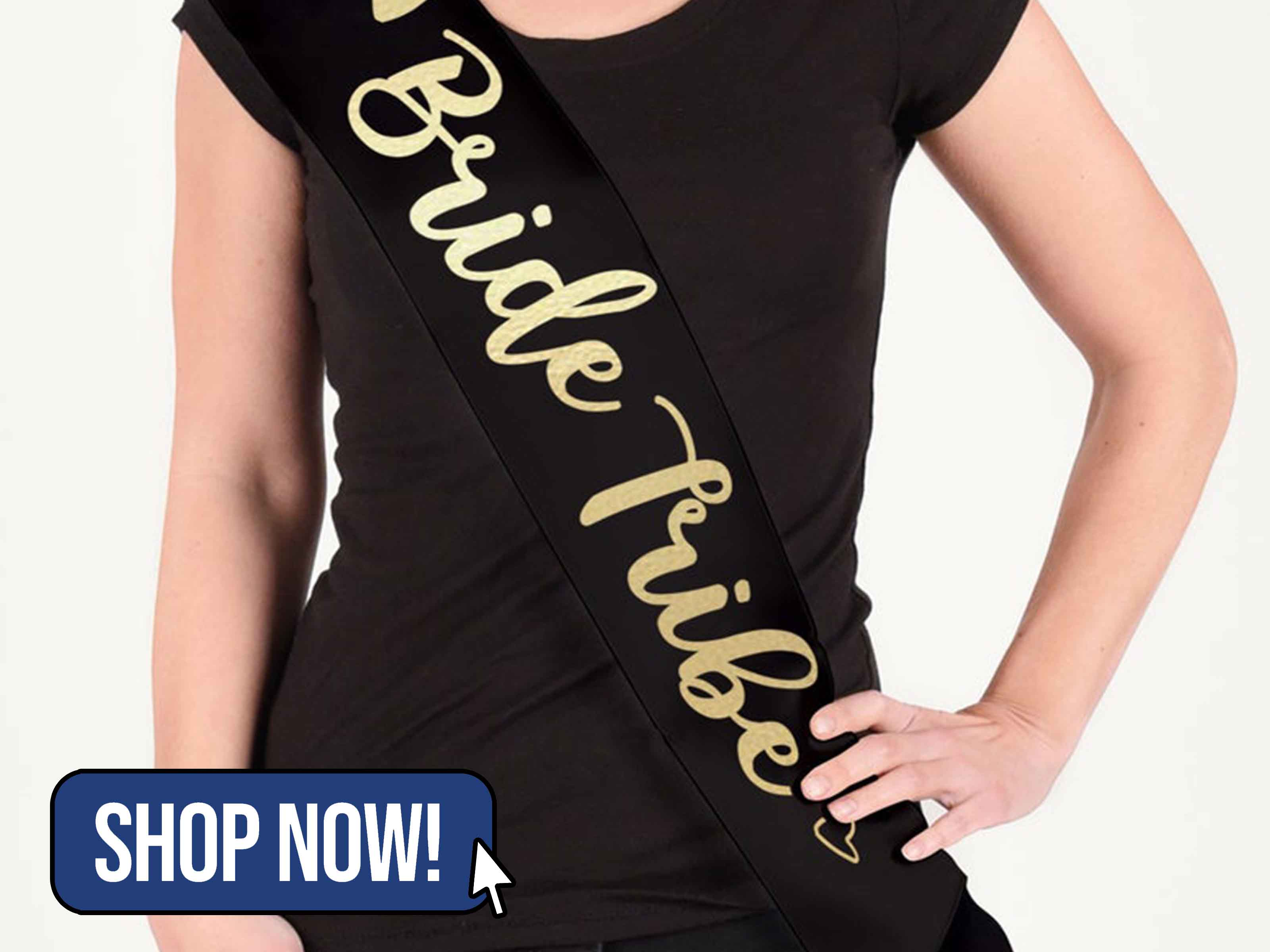 Black Bride Tribe Hen Party Sash - IvyApparelDesigns