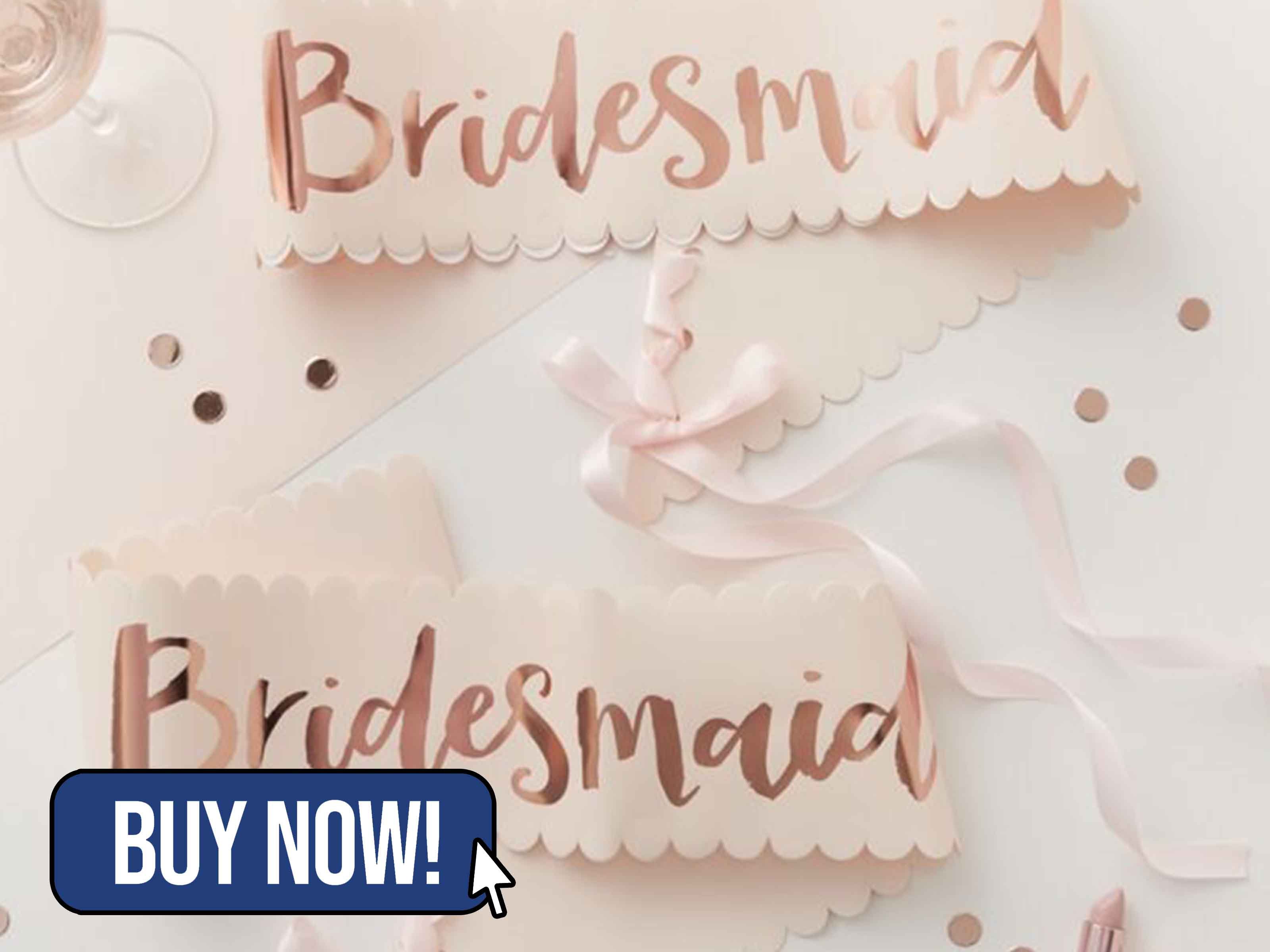 PINK AND ROSE GOLD HEN PARTY BRIDESMAID SASHES - Ginger Ray