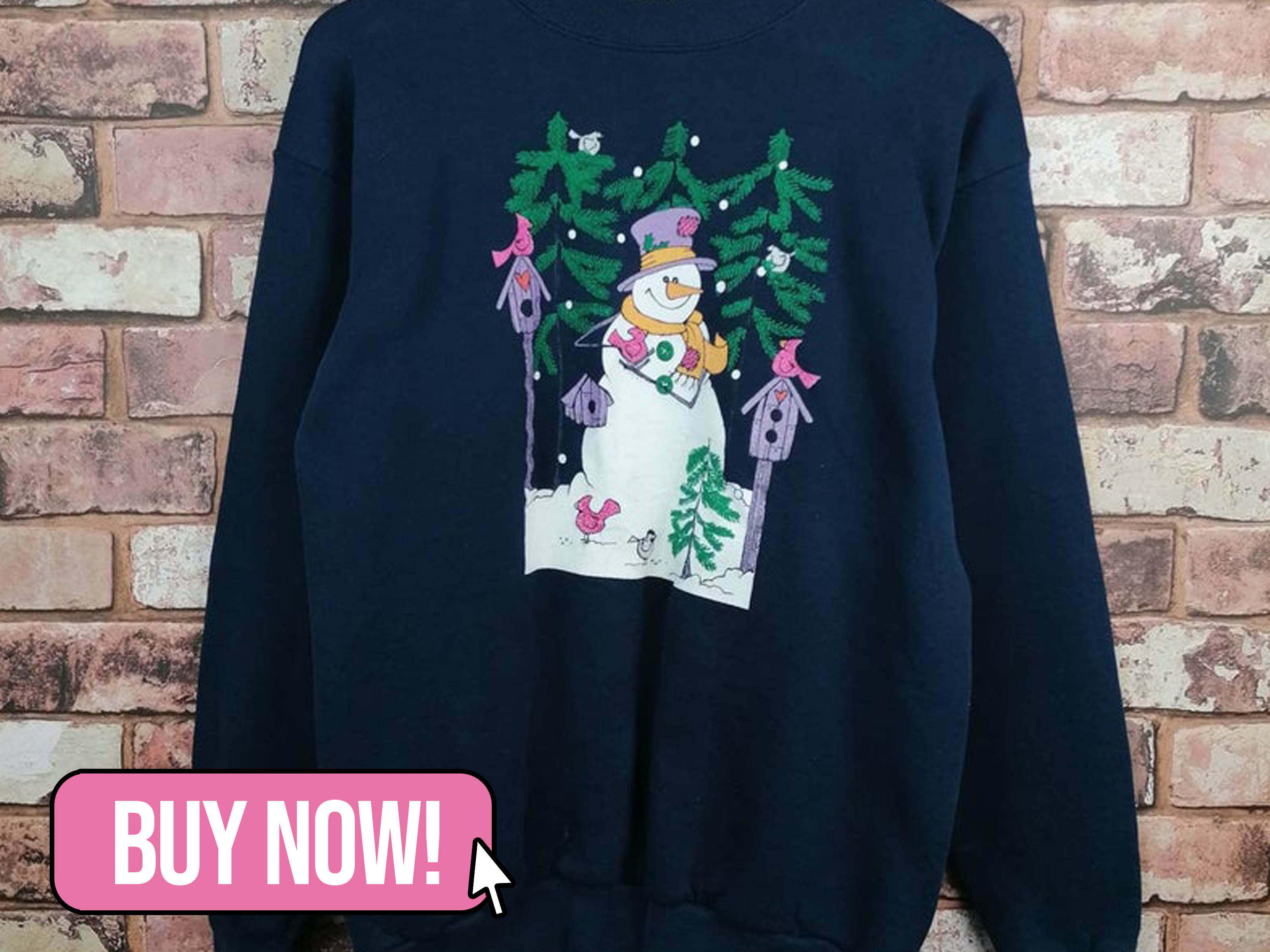 Vintage Christmas Sweater Snowman Design - TheVaultVntg