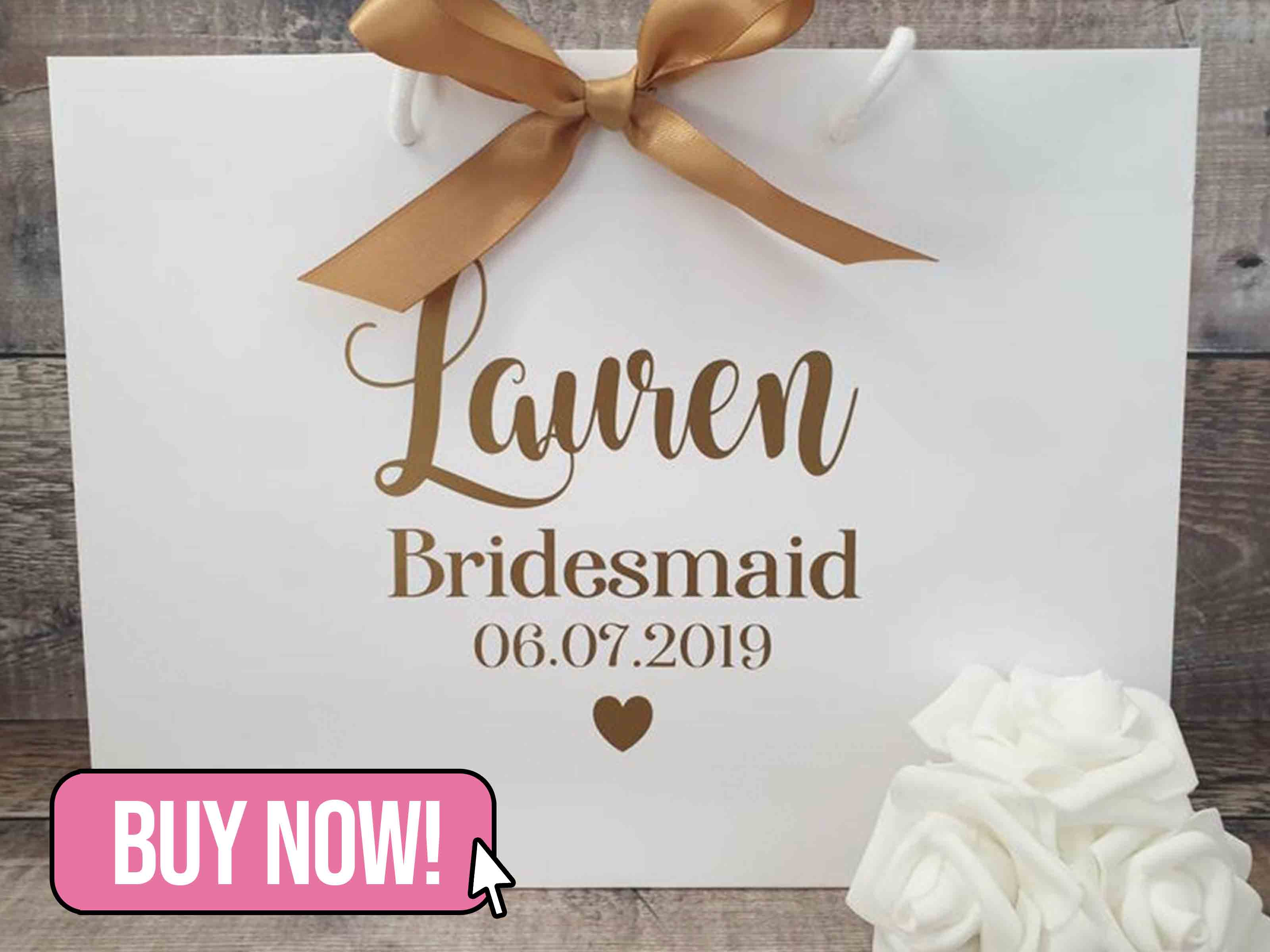 Personalised Bridesmaid Gift Bag - FingersnThumbsCrafts