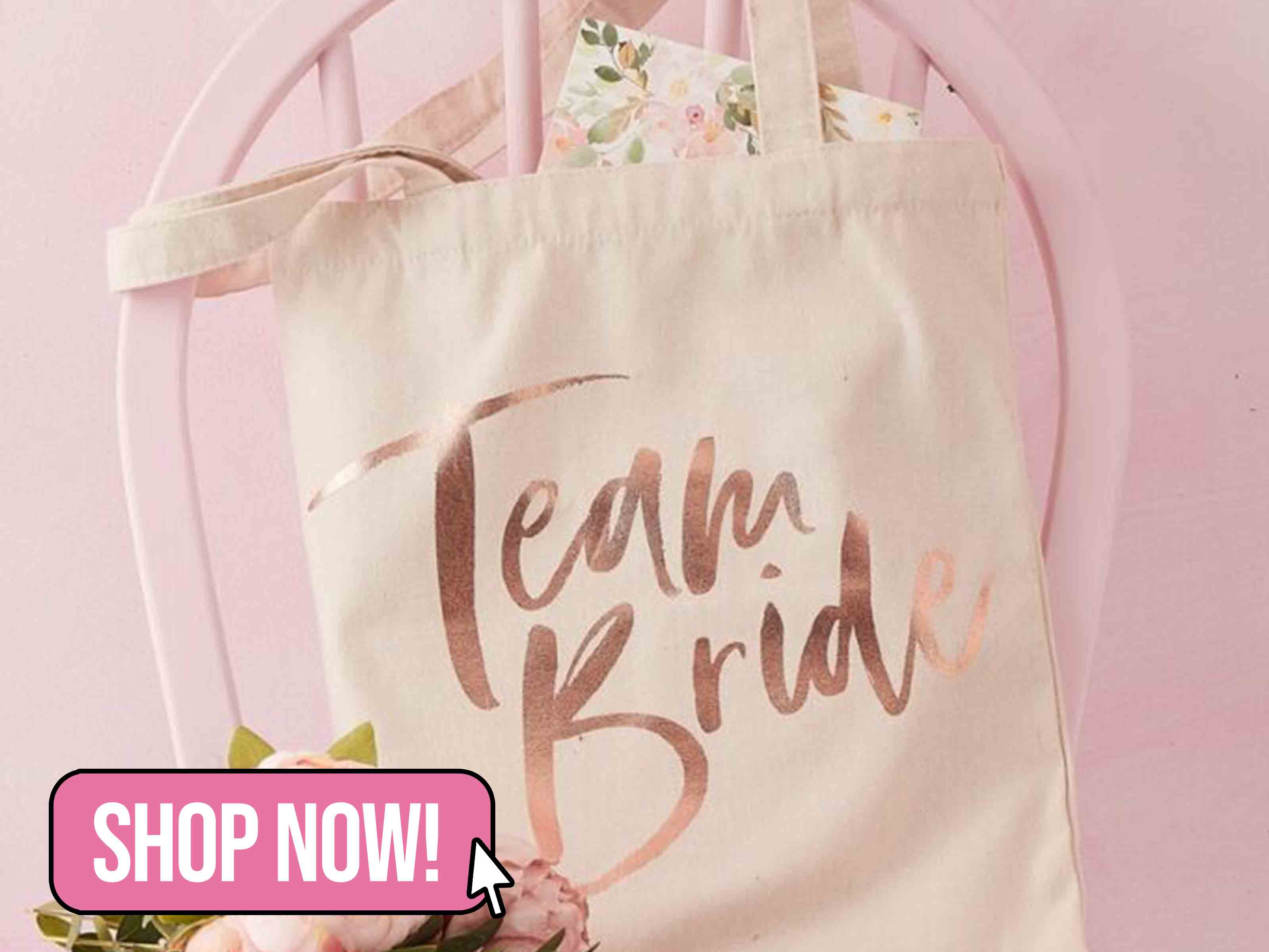 TEAM BRIDE PRINTED TOTE BAG - FLORAL HEN PARTY - Ginger Ray