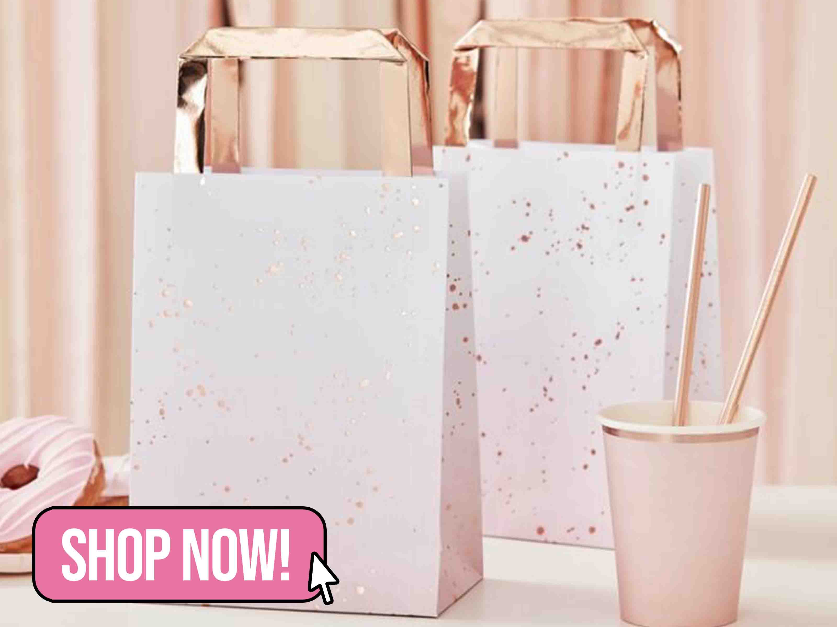 PINK OMBRE WATERCOLOUR ROSE GOLD PARTY BAGS - Ginger Ray