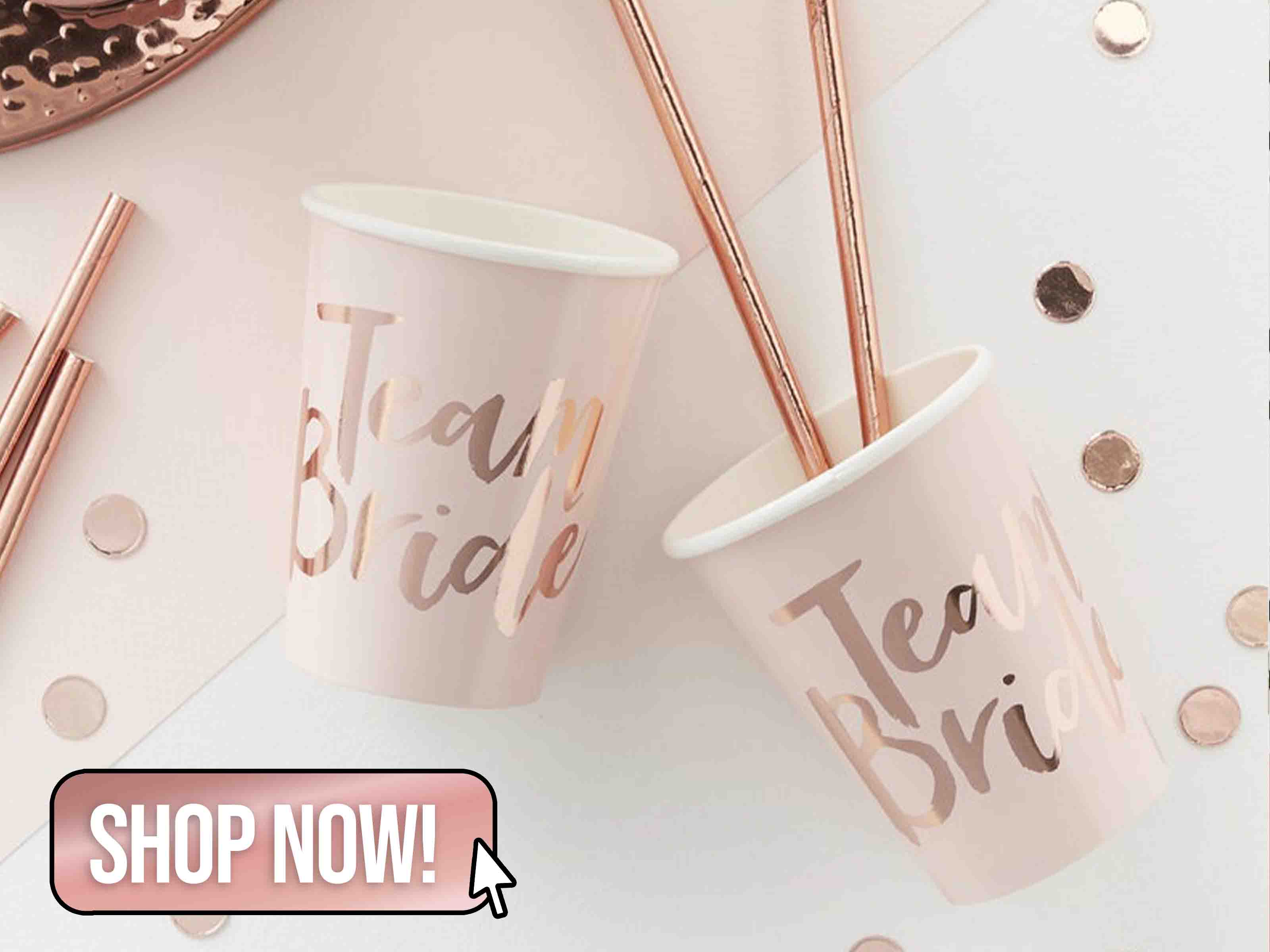 8 Rose Gold Hen Party Cups - hooraydays