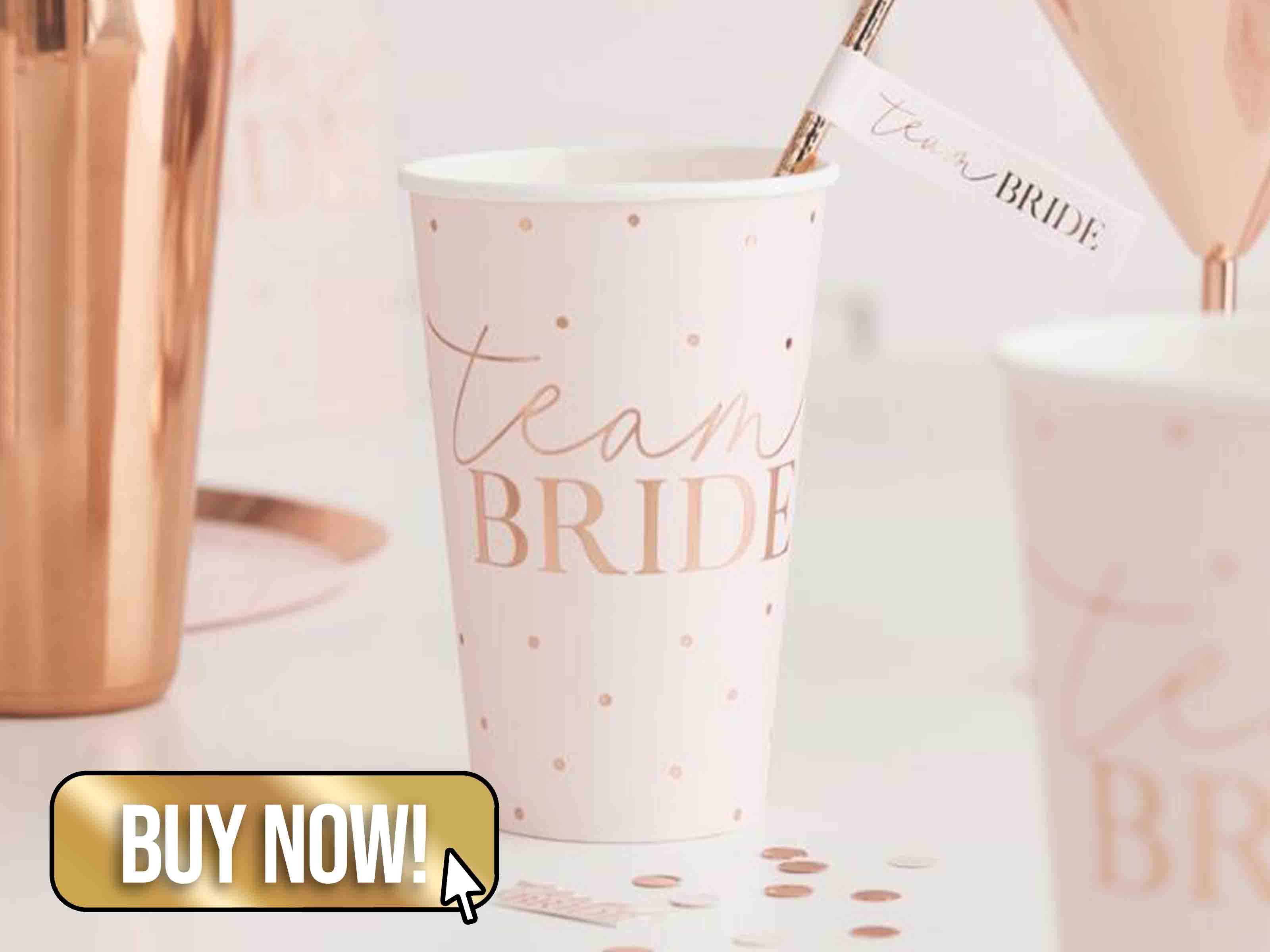 Large Rose Gold Team Bride Cups - Ginger Ray