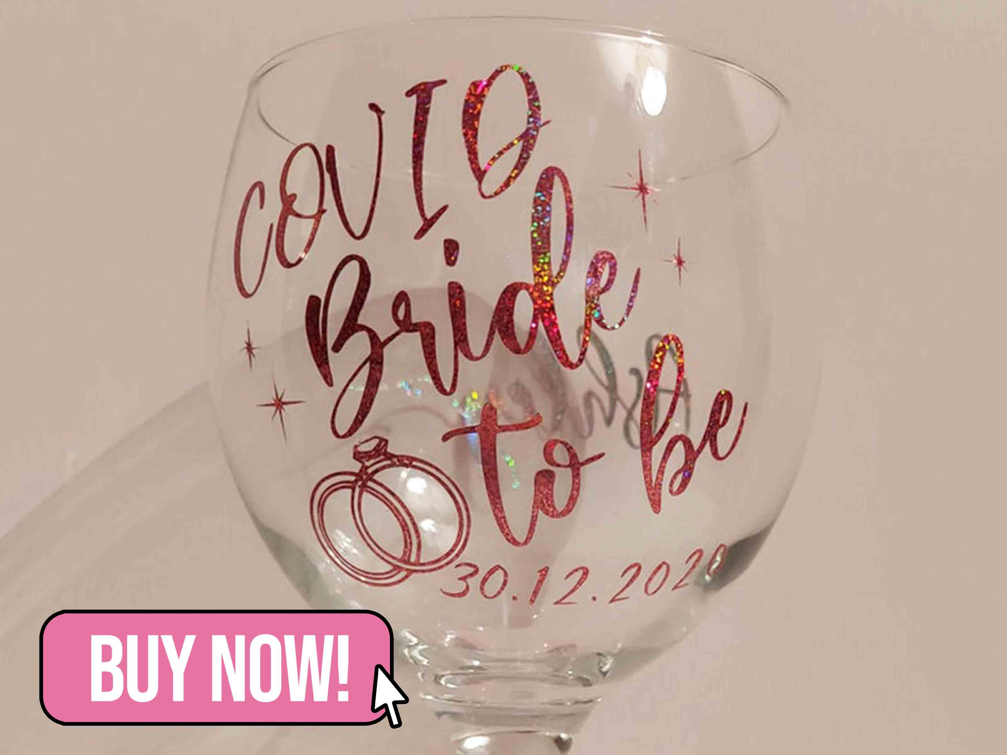 Personalised Bride To Be Glass - CraftySlothUK