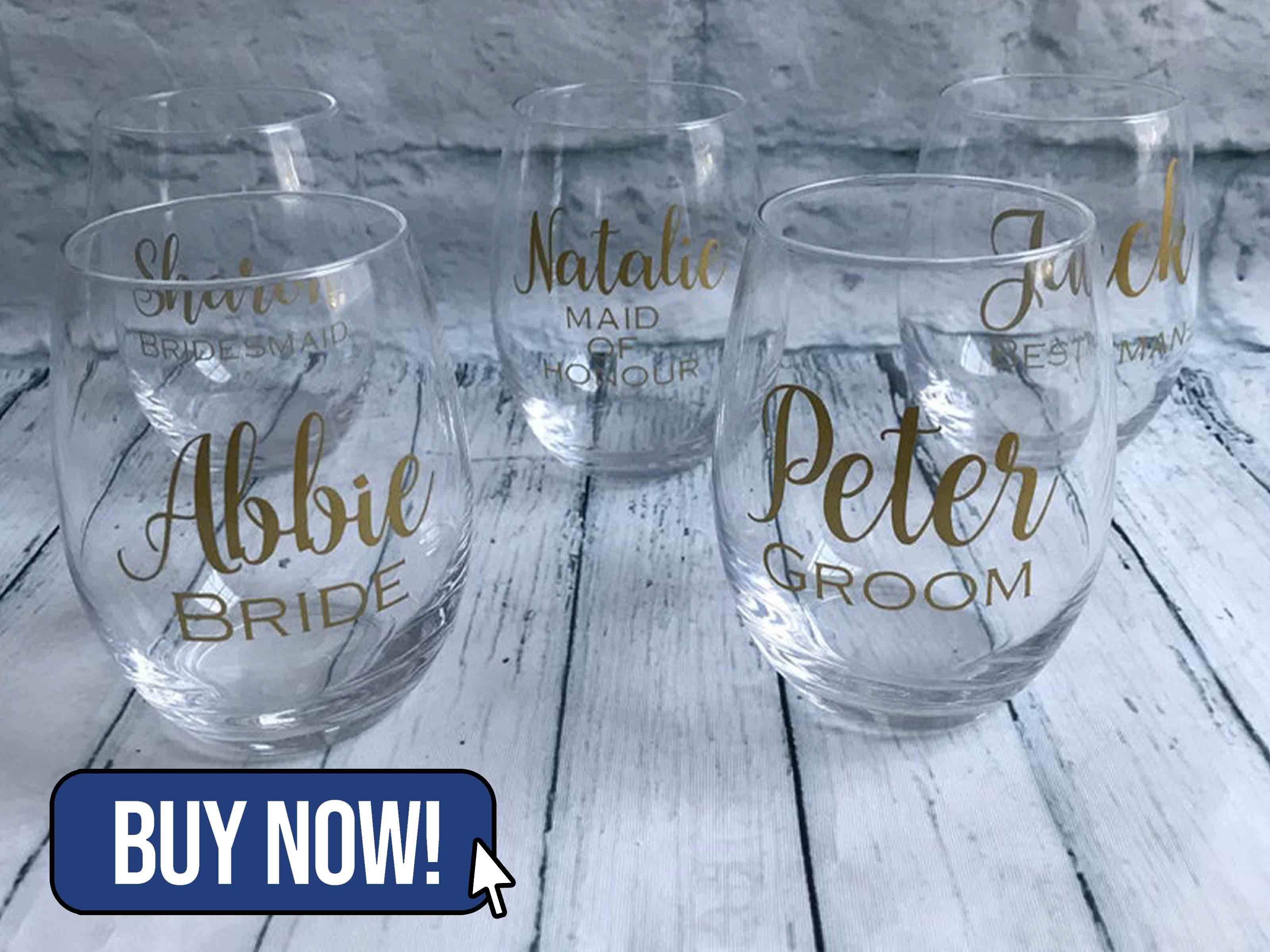 Personalised Stemless Wine Glass - MadeByMarciax