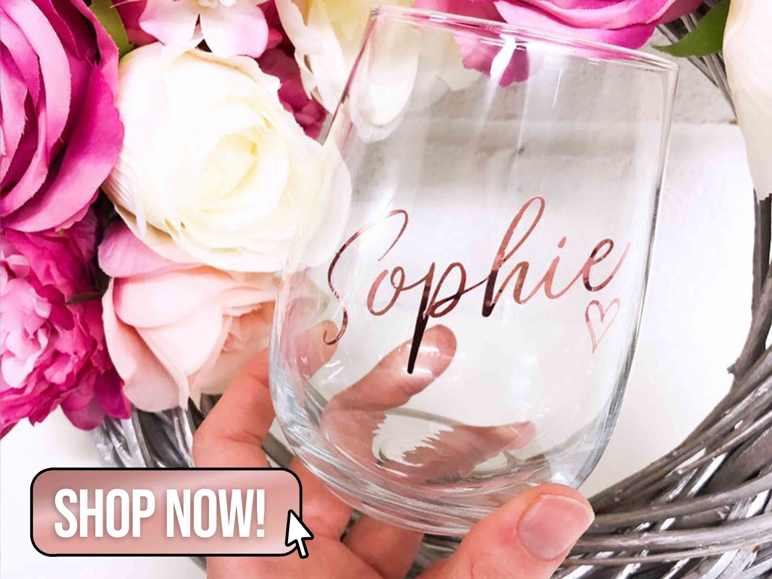 Personalised Stemless Named Wine Glass - MaddoxhomeByVicky