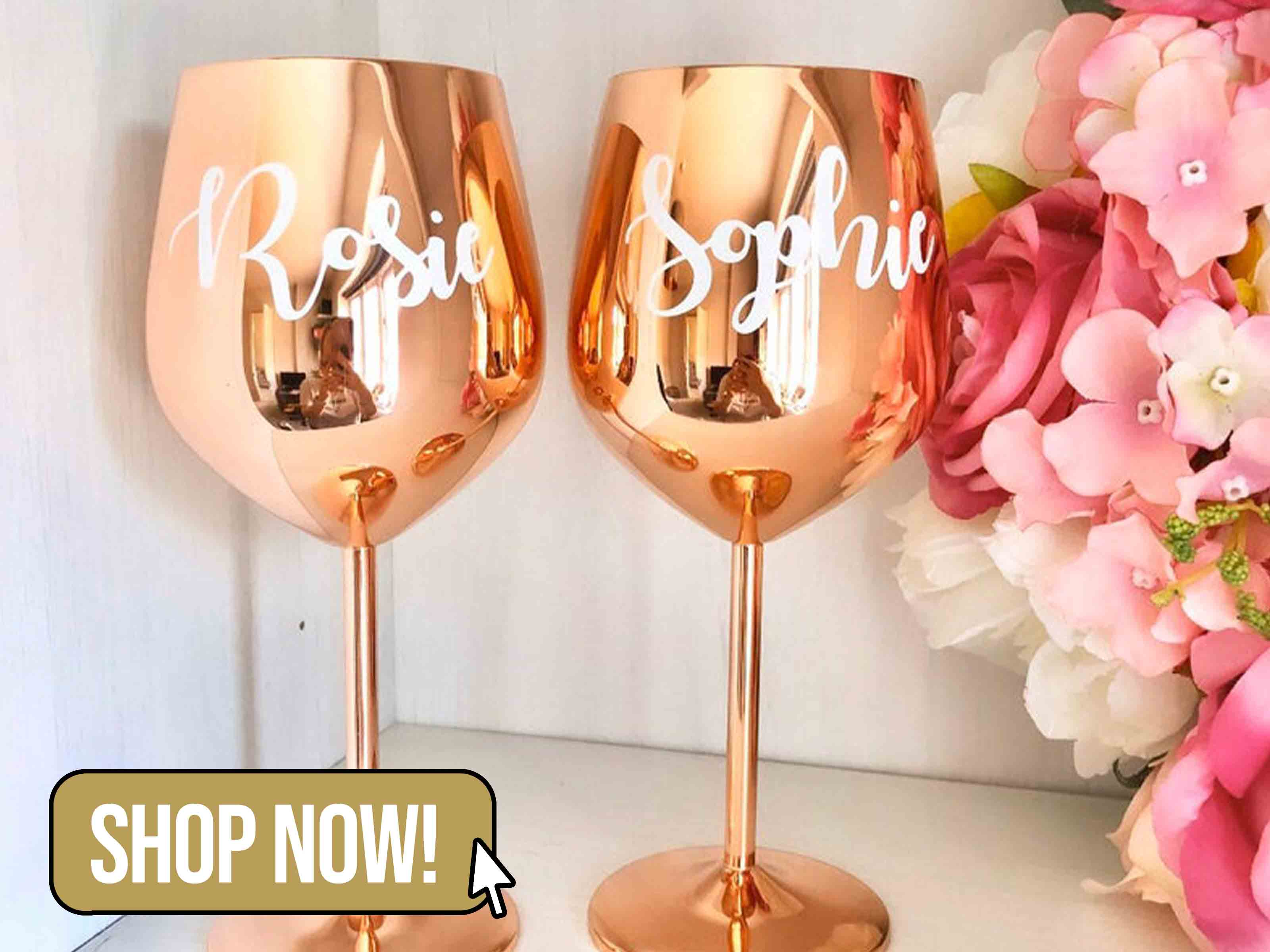 Personalised Rose Gold Stainless Steel Wine Glass - MaddoxhomeByVicky