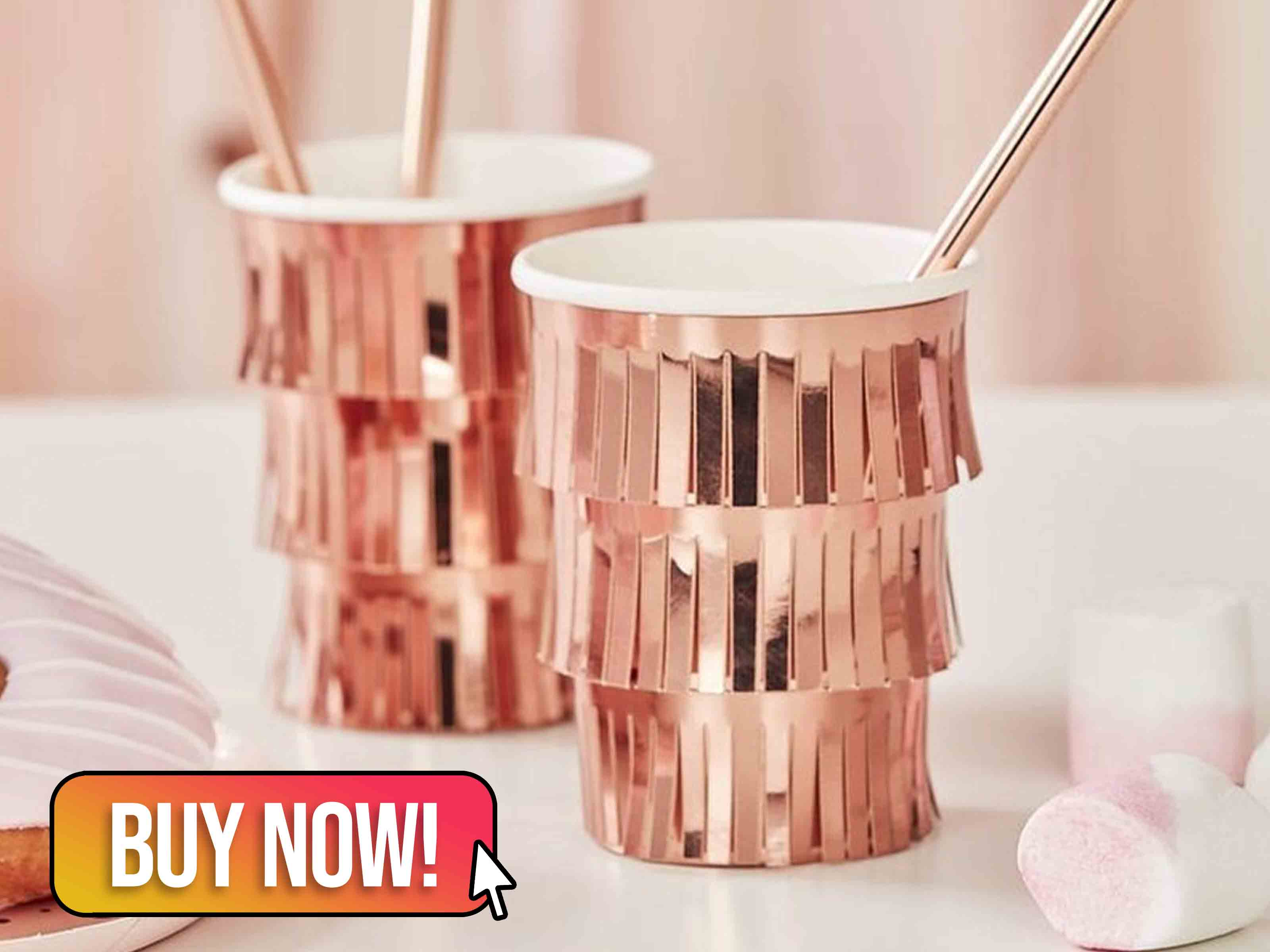 Rose Gold Fringe Party Cups - supersweetparty
