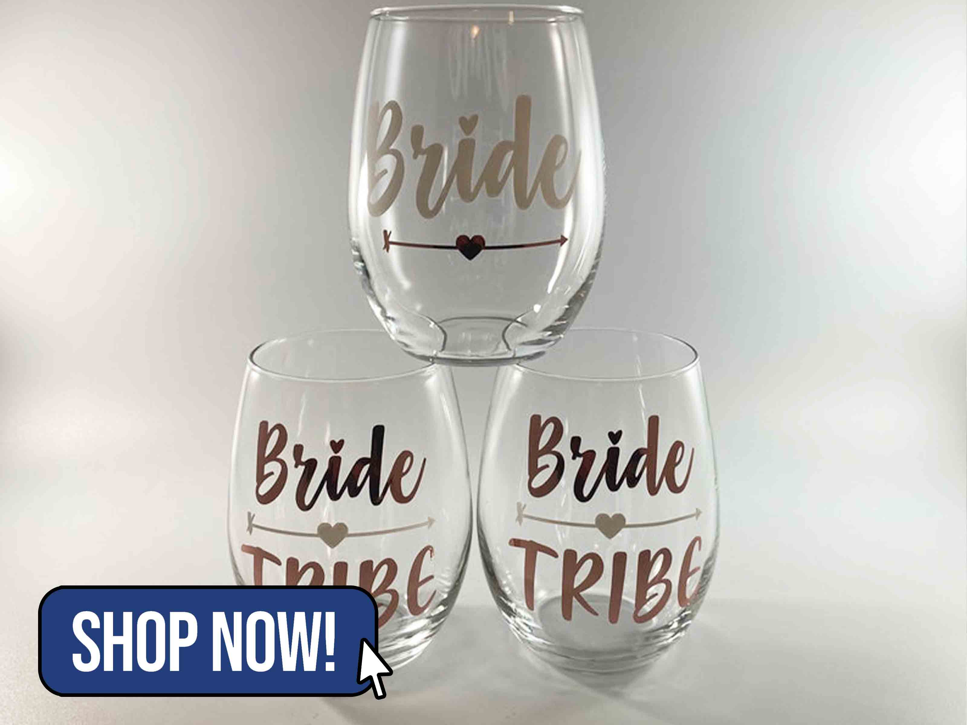 Bride Tribe Stemless Wine Glasses - ModernRoseDesignCA
