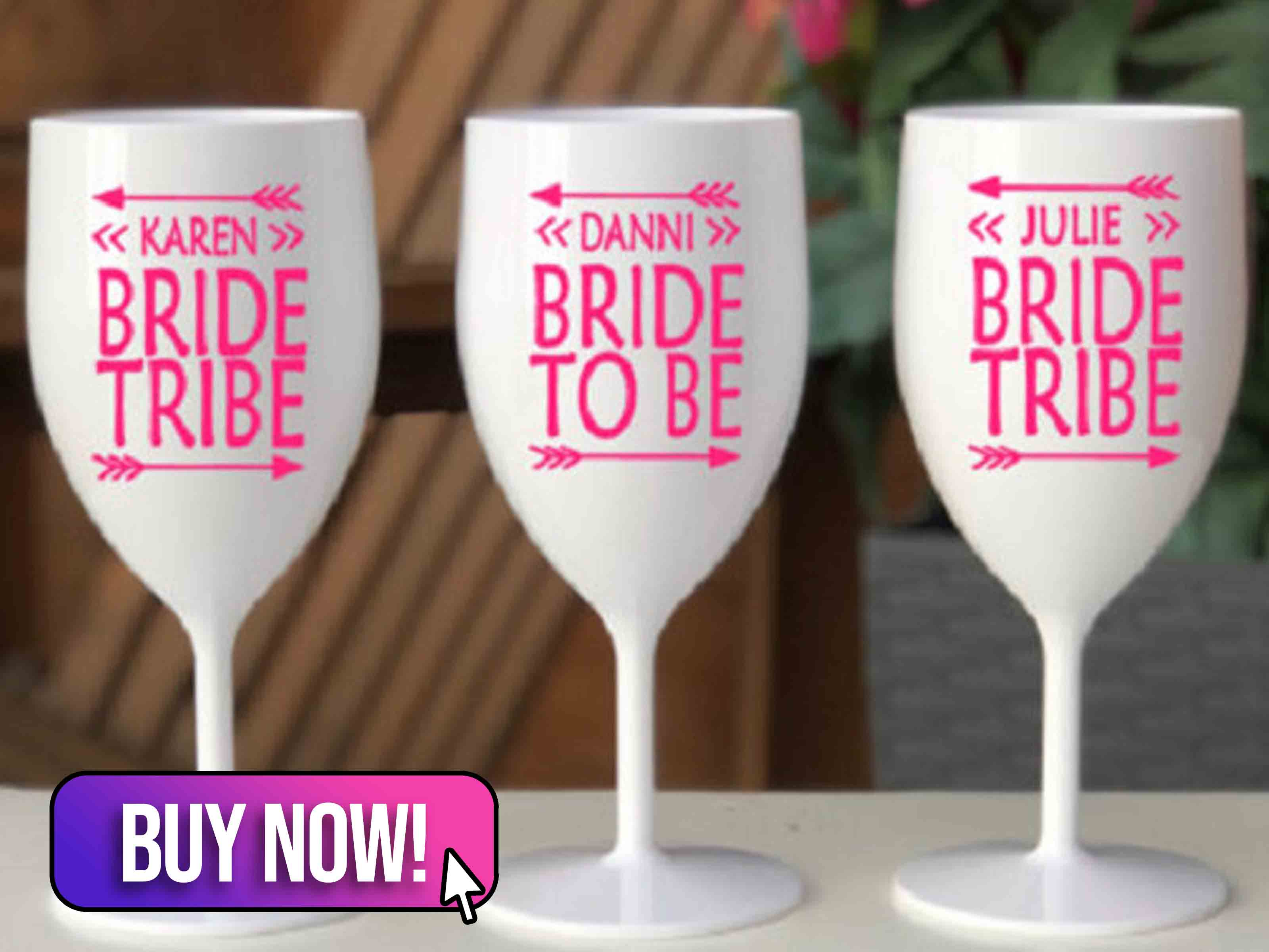Personalised Bride Tribe Hen Party White Glossy Plastic Glasses - PersonalisationHQ
