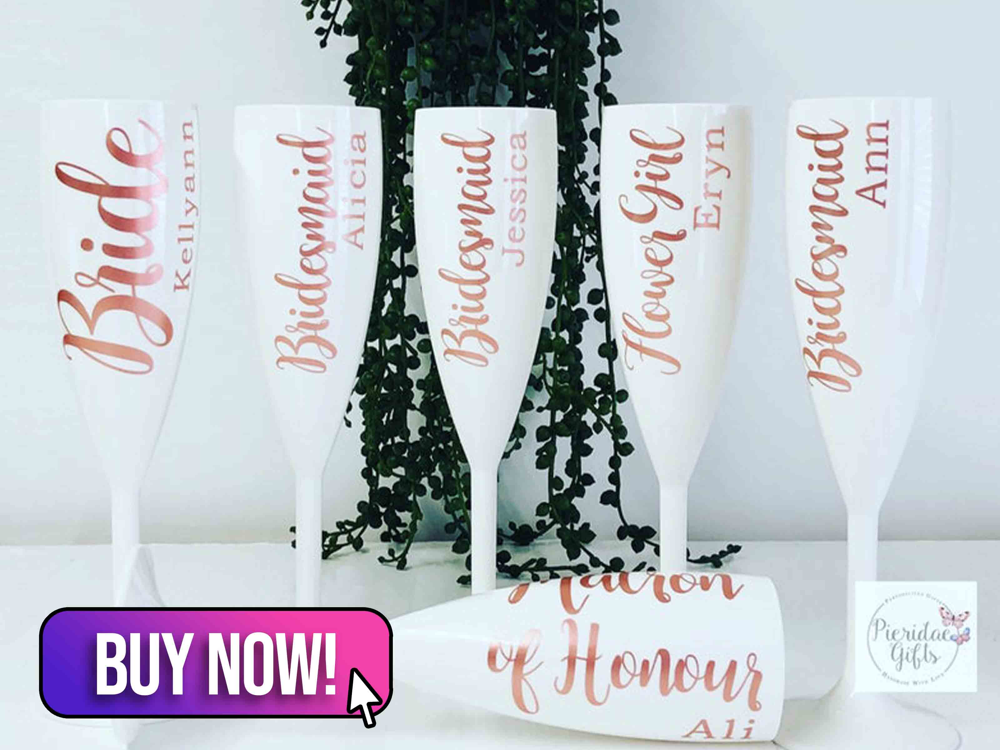 Personalised White Reusable Plastic Champagne Flute - PieridaeGifts