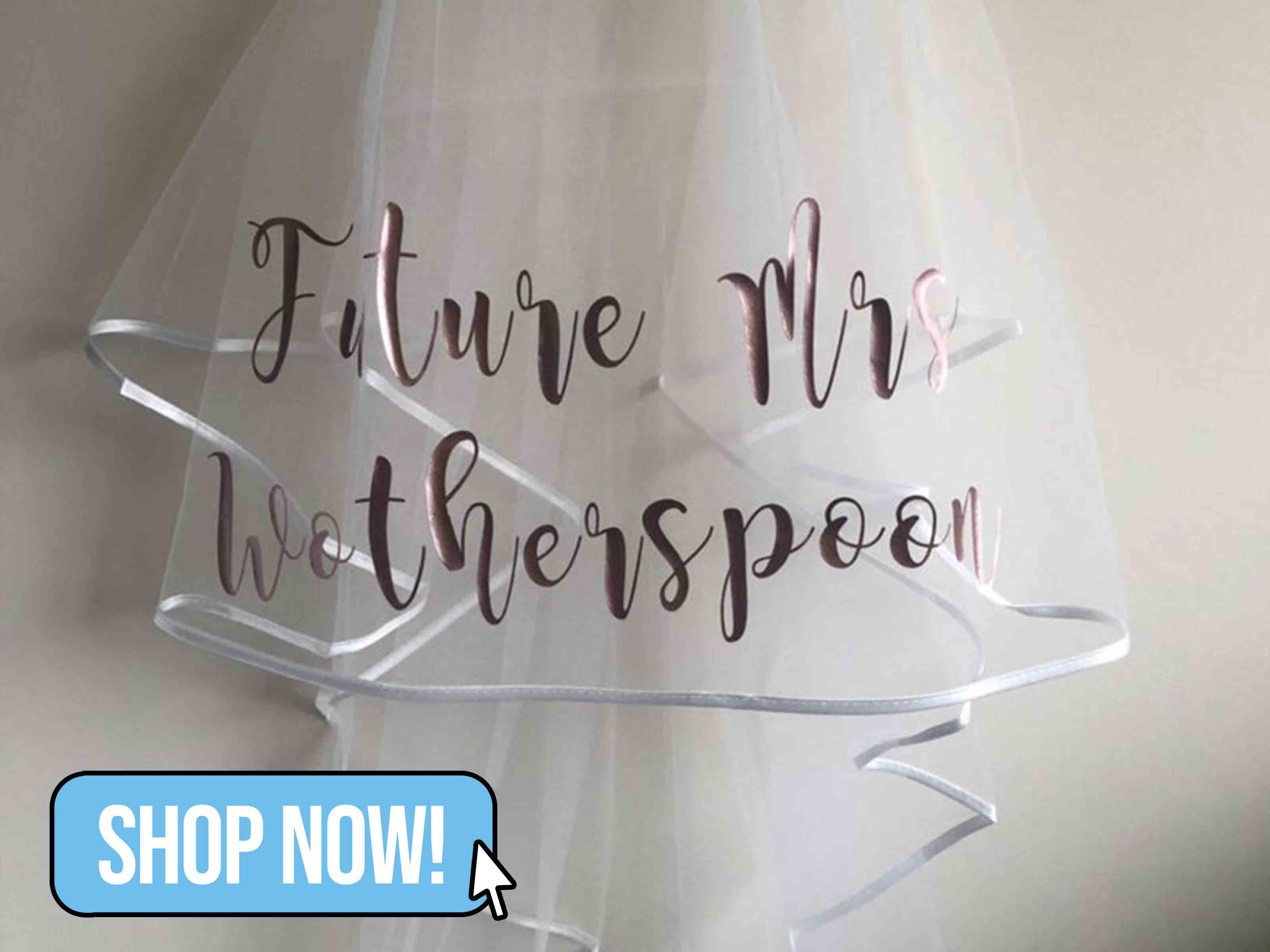 Future Mrs Hen Party Personalised Veil - BethsBoutiqueDesigns