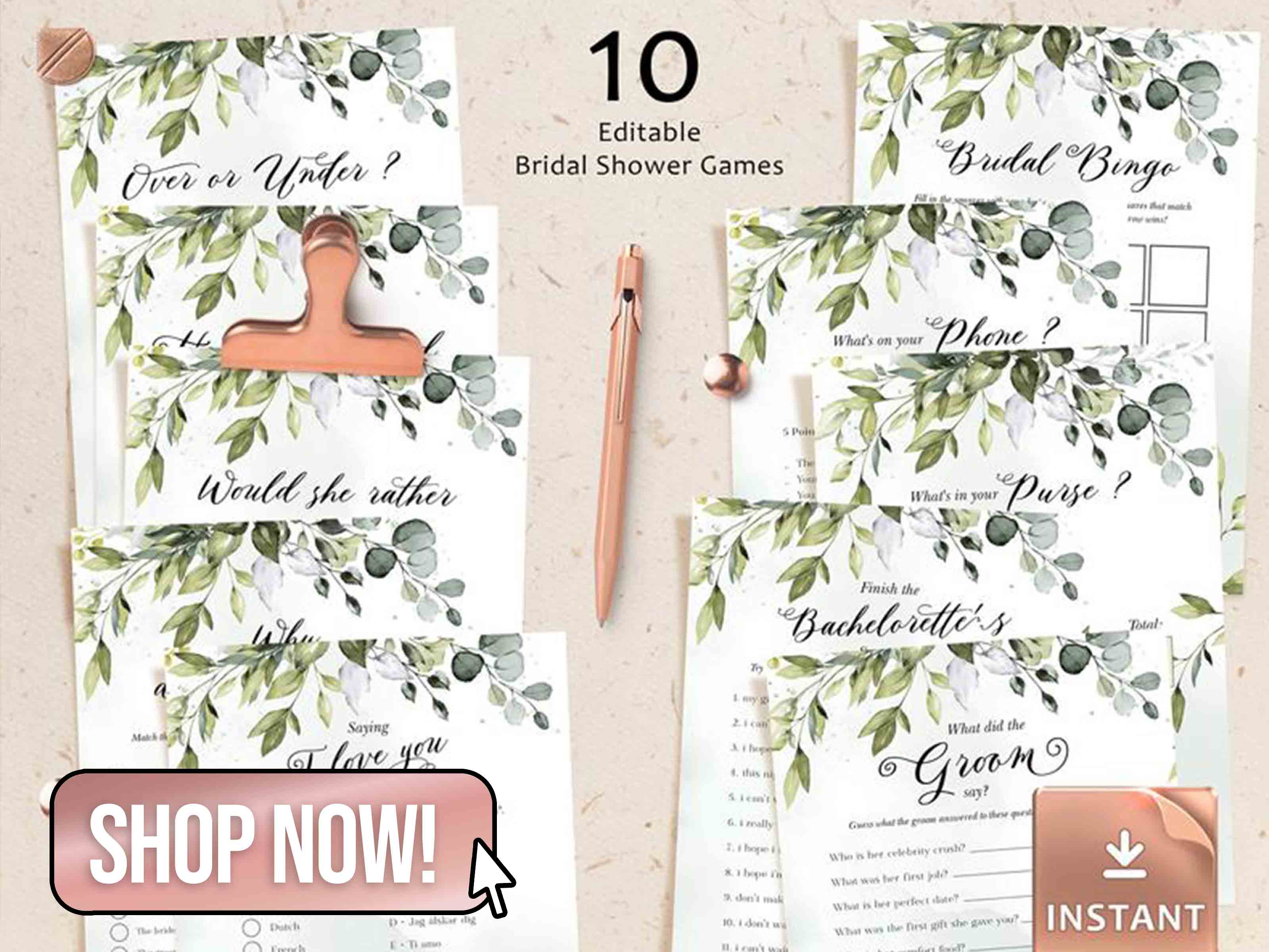 Editable Bridal Shower Games - DIYPaperBoutique