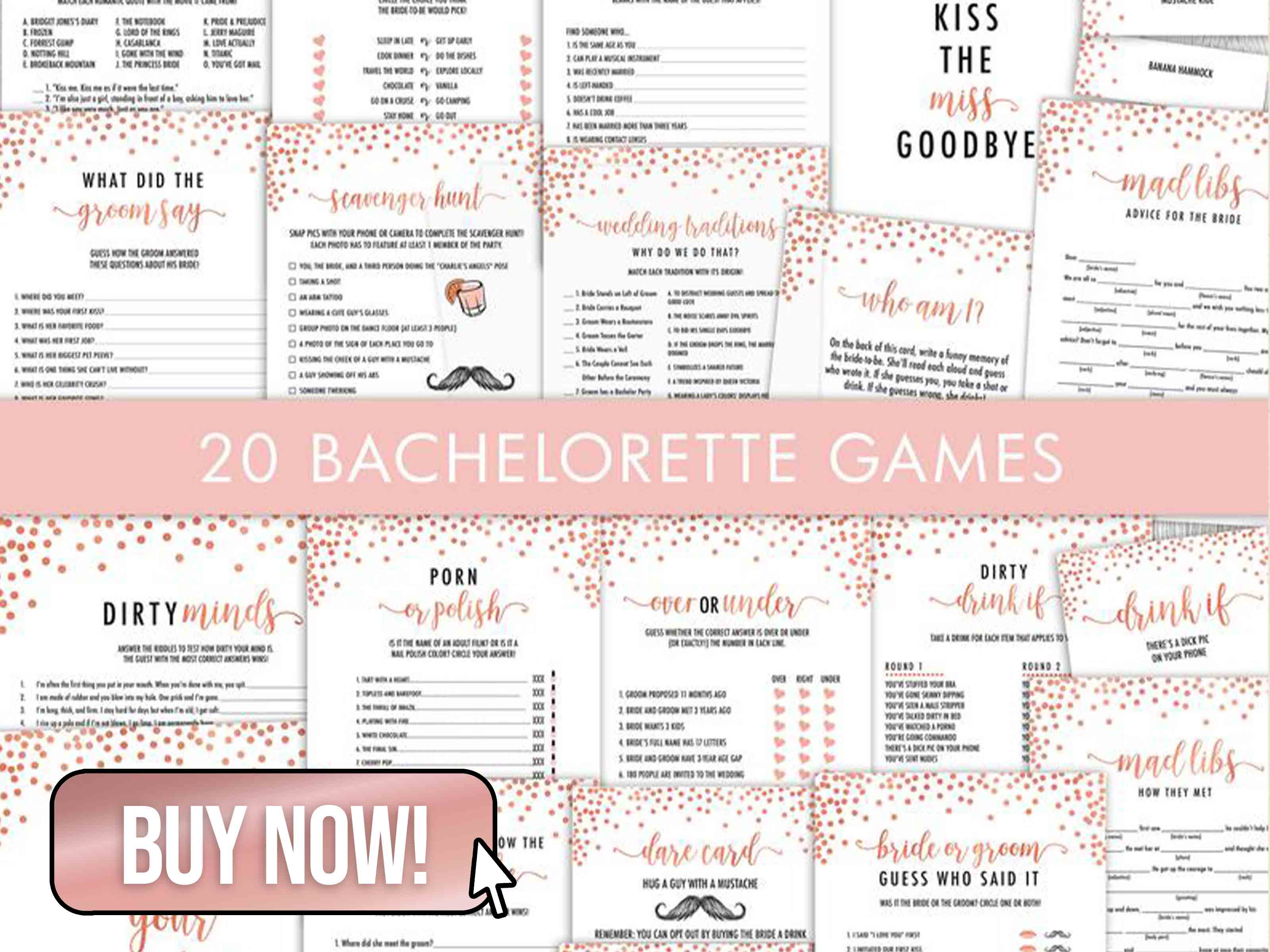20 Rose Gold Bachelorette Games Bundle - CatAndFeather