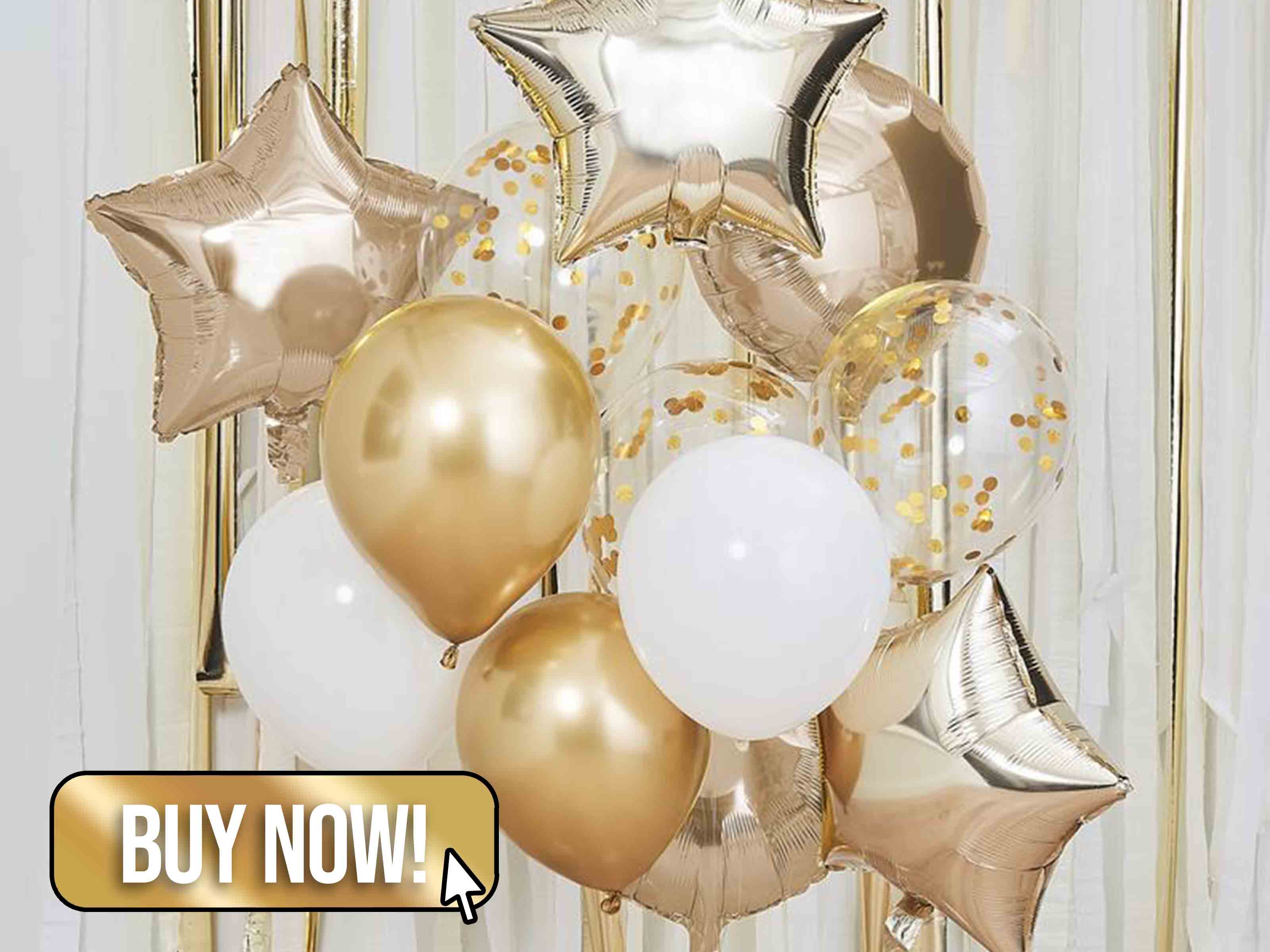 Gold Mixed Balloon Cluster - TheCelebrationsHouse