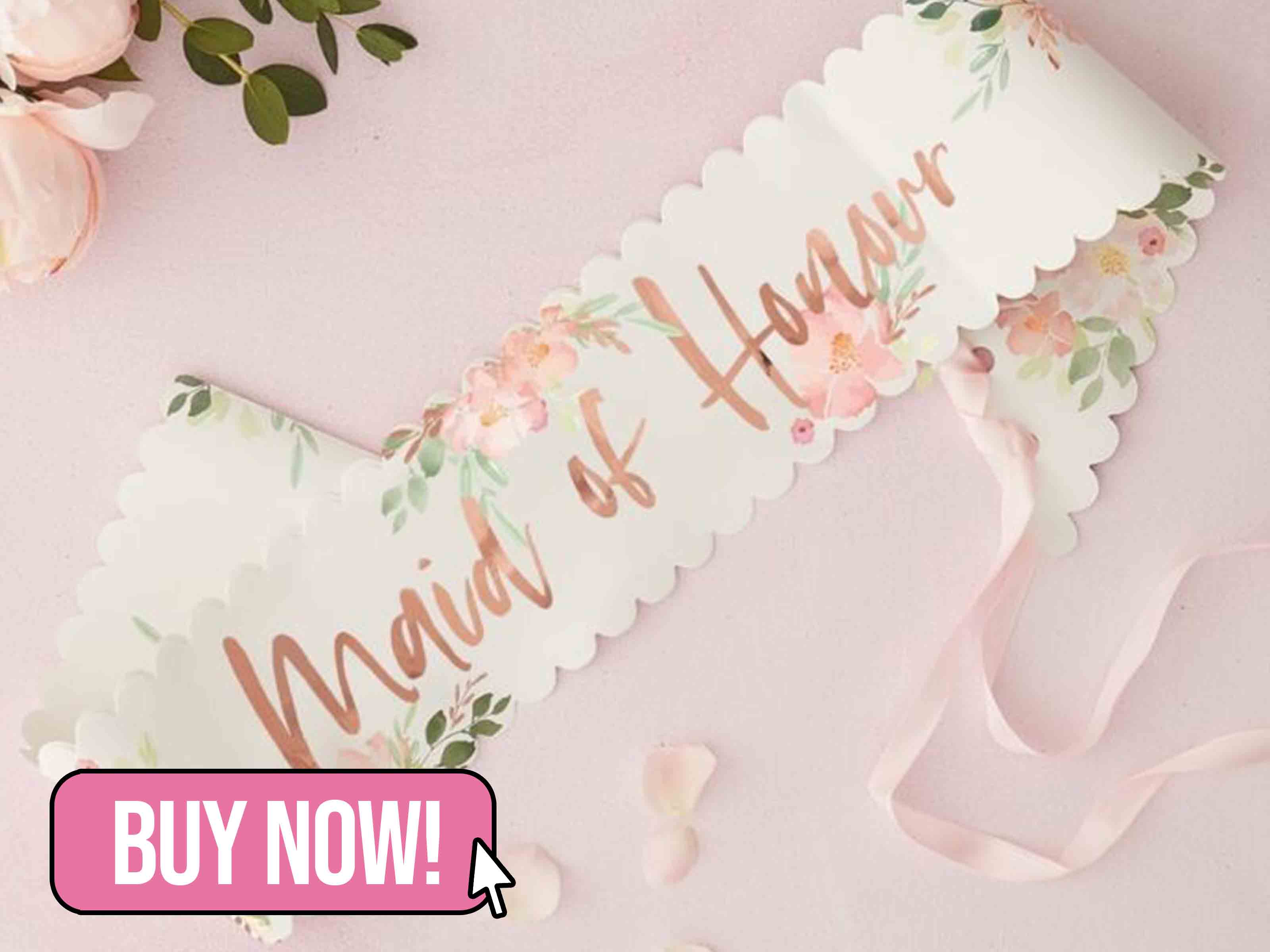 ROSE GOLD FLORAL MAID OF HONOUR SASH - Ginger Ray