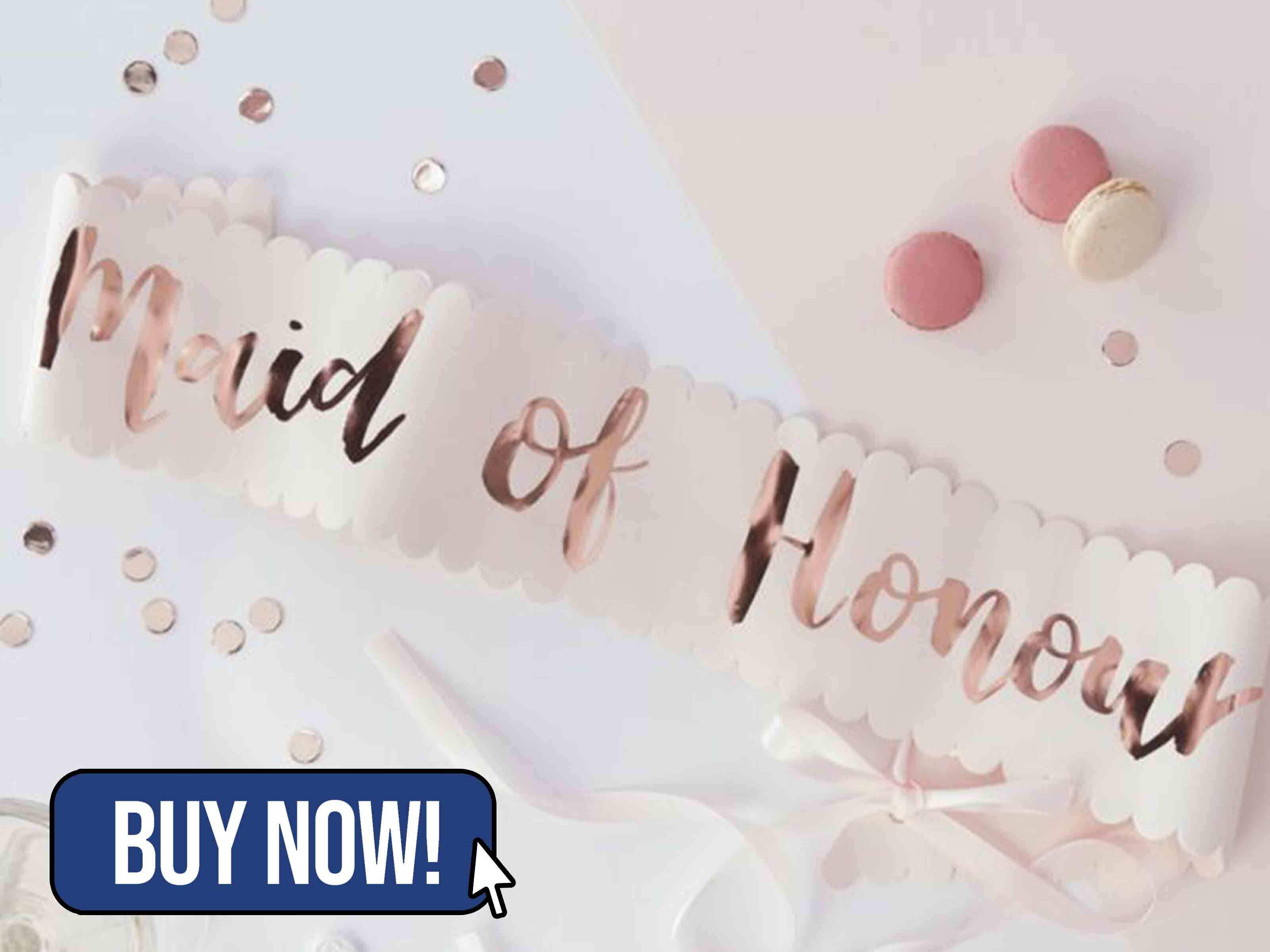 PINK AND ROSE GOLD FOILED MAID OF HONOUR SASH - hooraydays