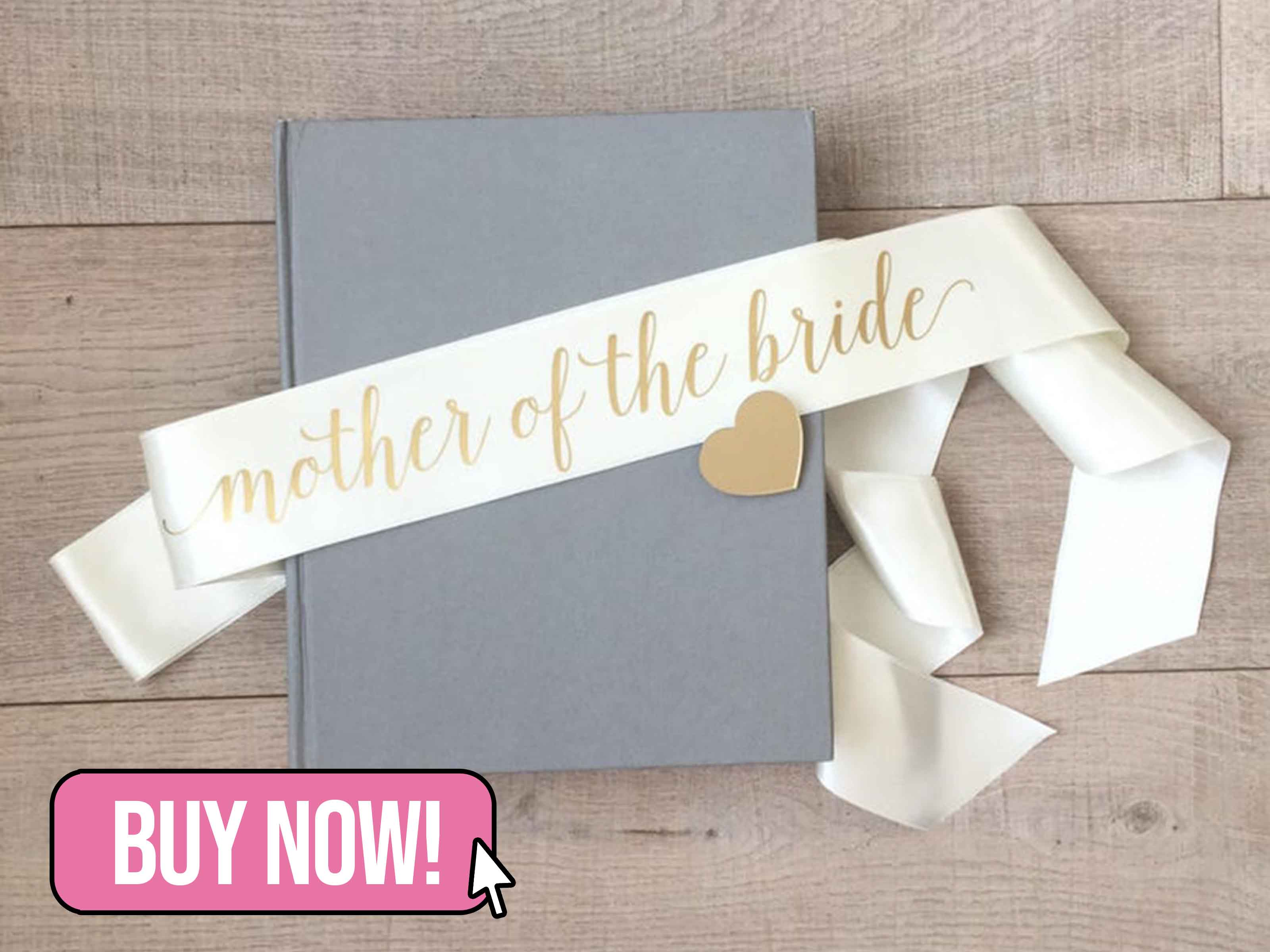 Ivory and Gold Mother of the Bride Sash - HopStudio