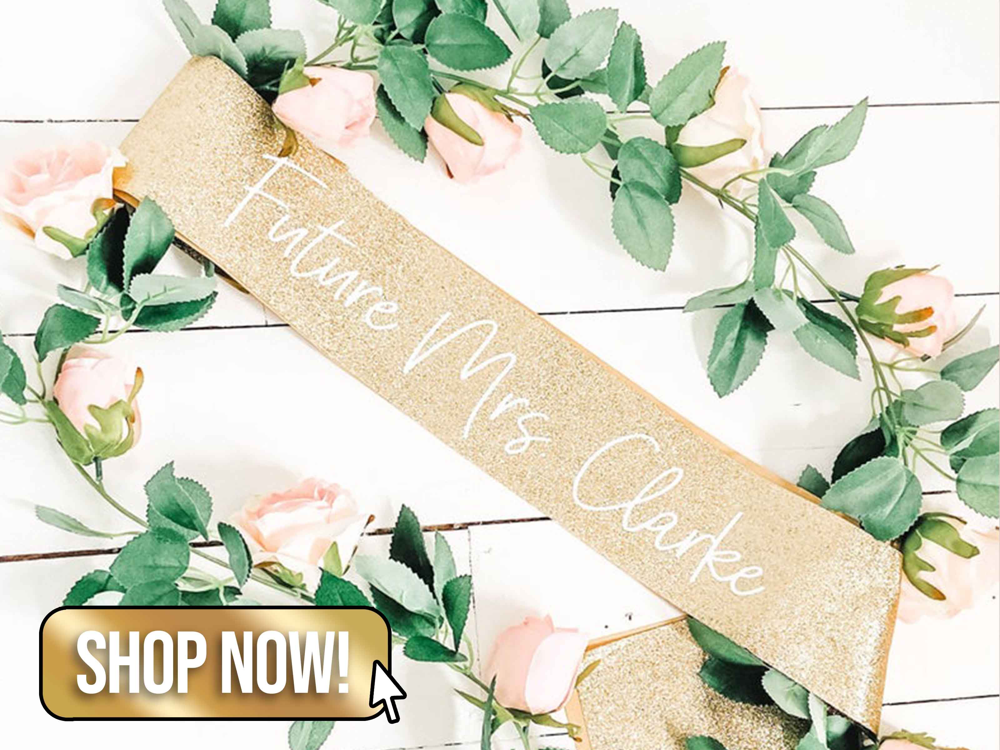 Custom Gold Glitter Sash - hooraydays