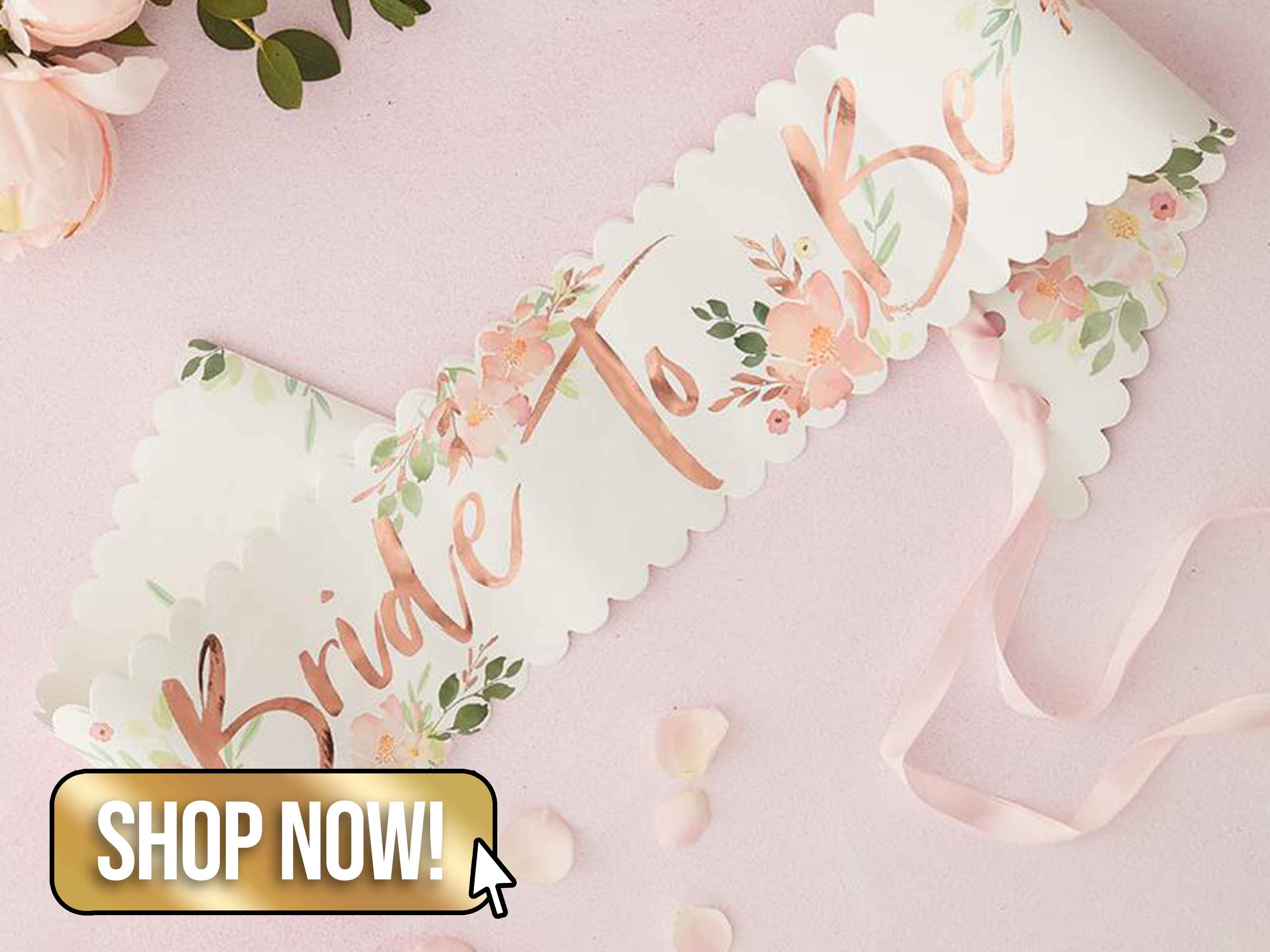 Rose Gold Floral Bride to Be Sash - LuckandLuck