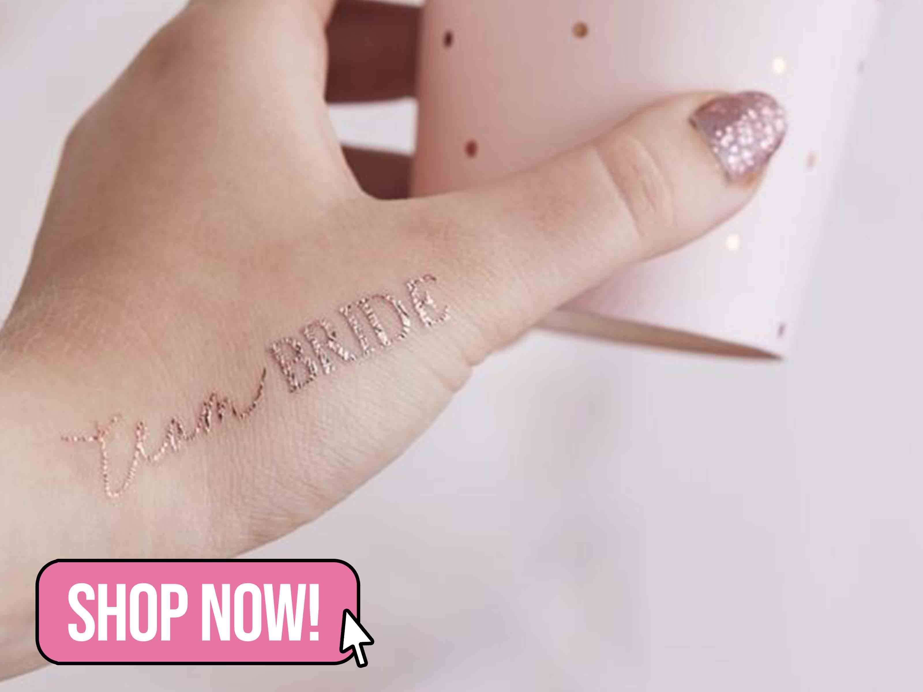 ROSE GOLD TEAM BRIDE HEN PARTY TATTOOS - PartyTouchesUK