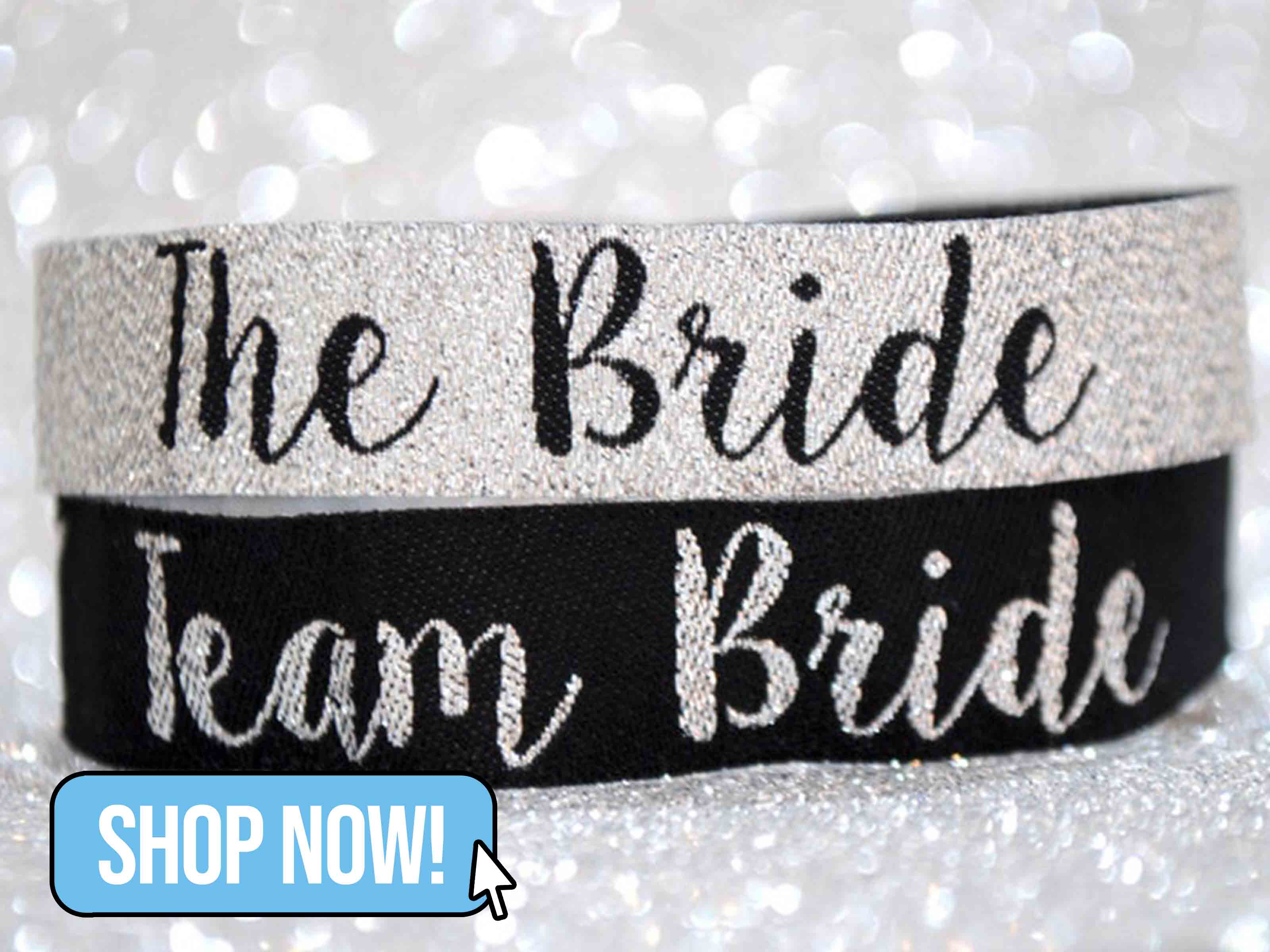 Team Bride Silver & Black Hen Party Wristbands - WedfestWeddings