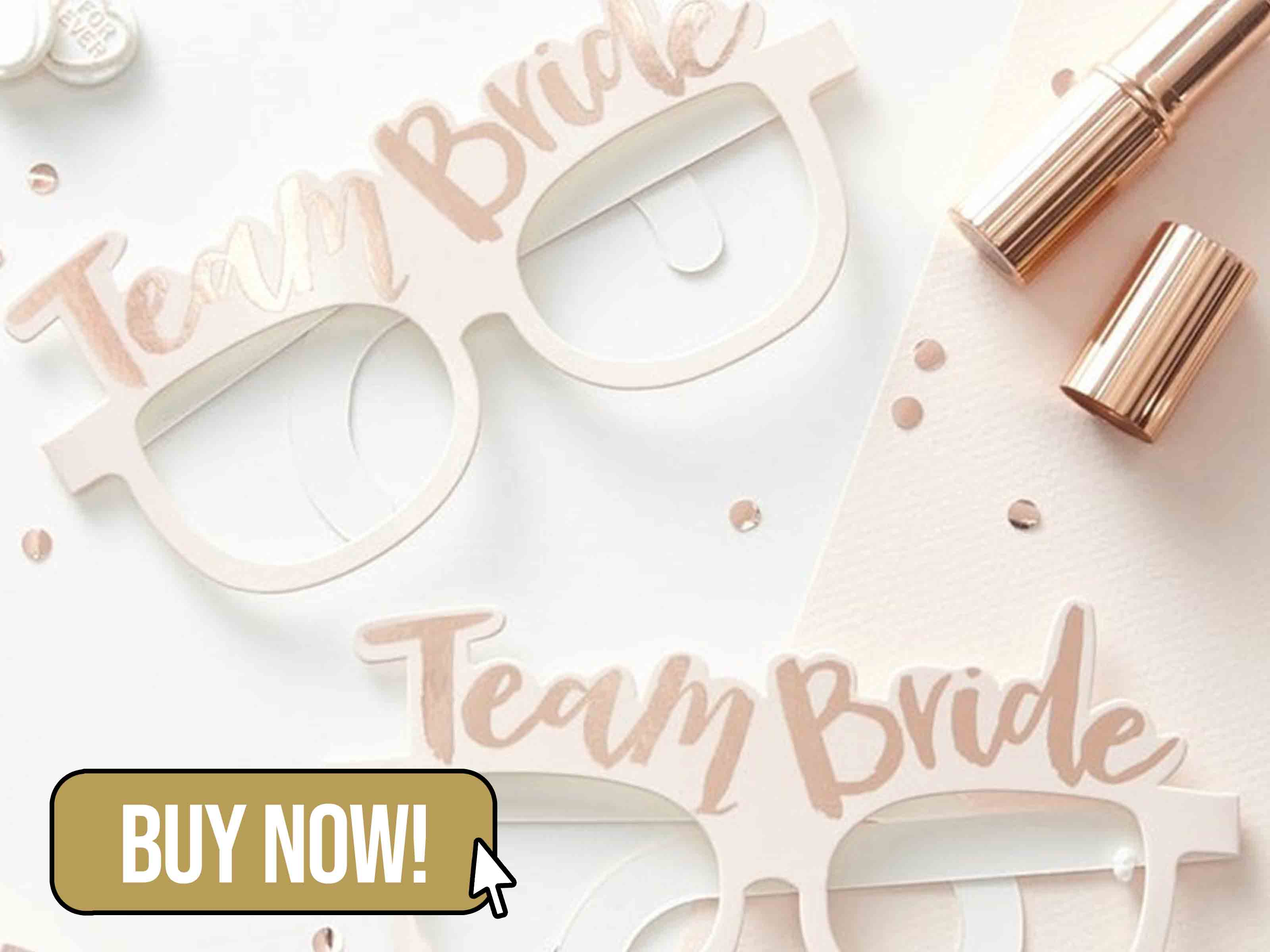 Pink & Rose Gold Team Bride Fun Glasses - PartyTouchesUK