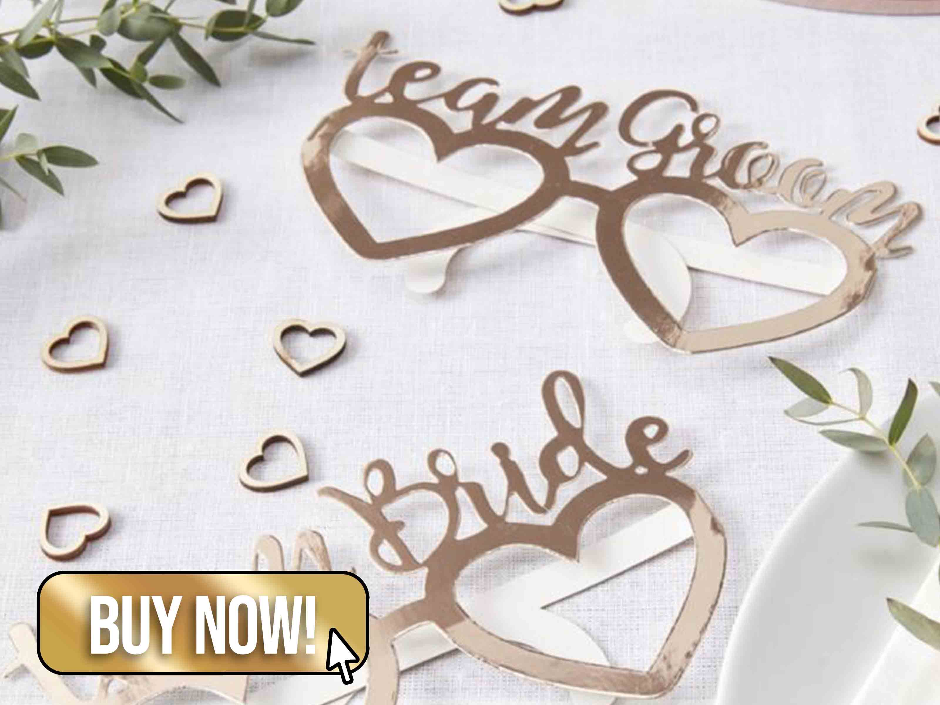 ROSE GOLD FOILED TEAM BRIDE TEAM GROOM FUN GLASSES - Ginger Ray