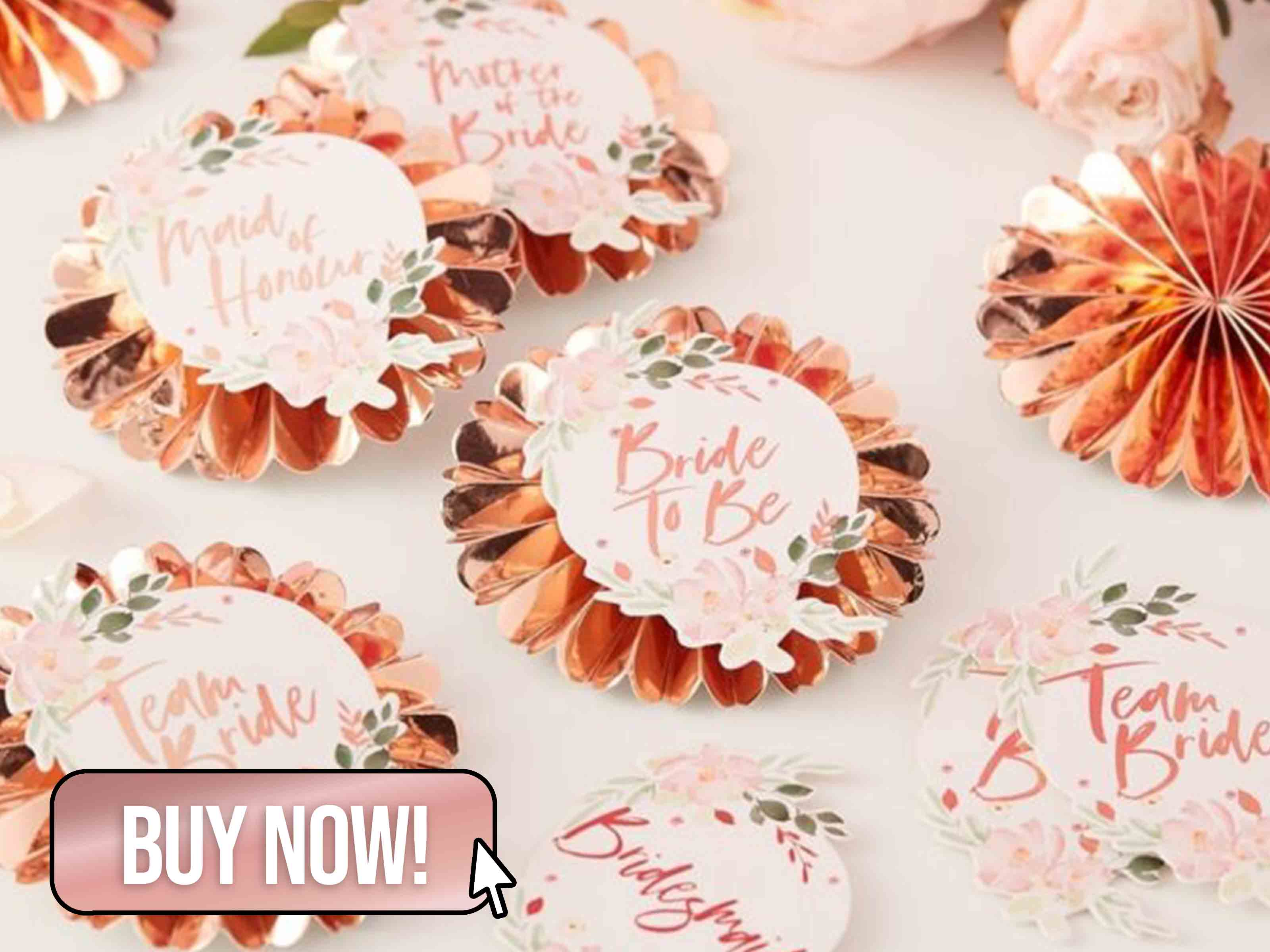 FLORAL TEAM BRIDE BADGES - Ginger Ray
