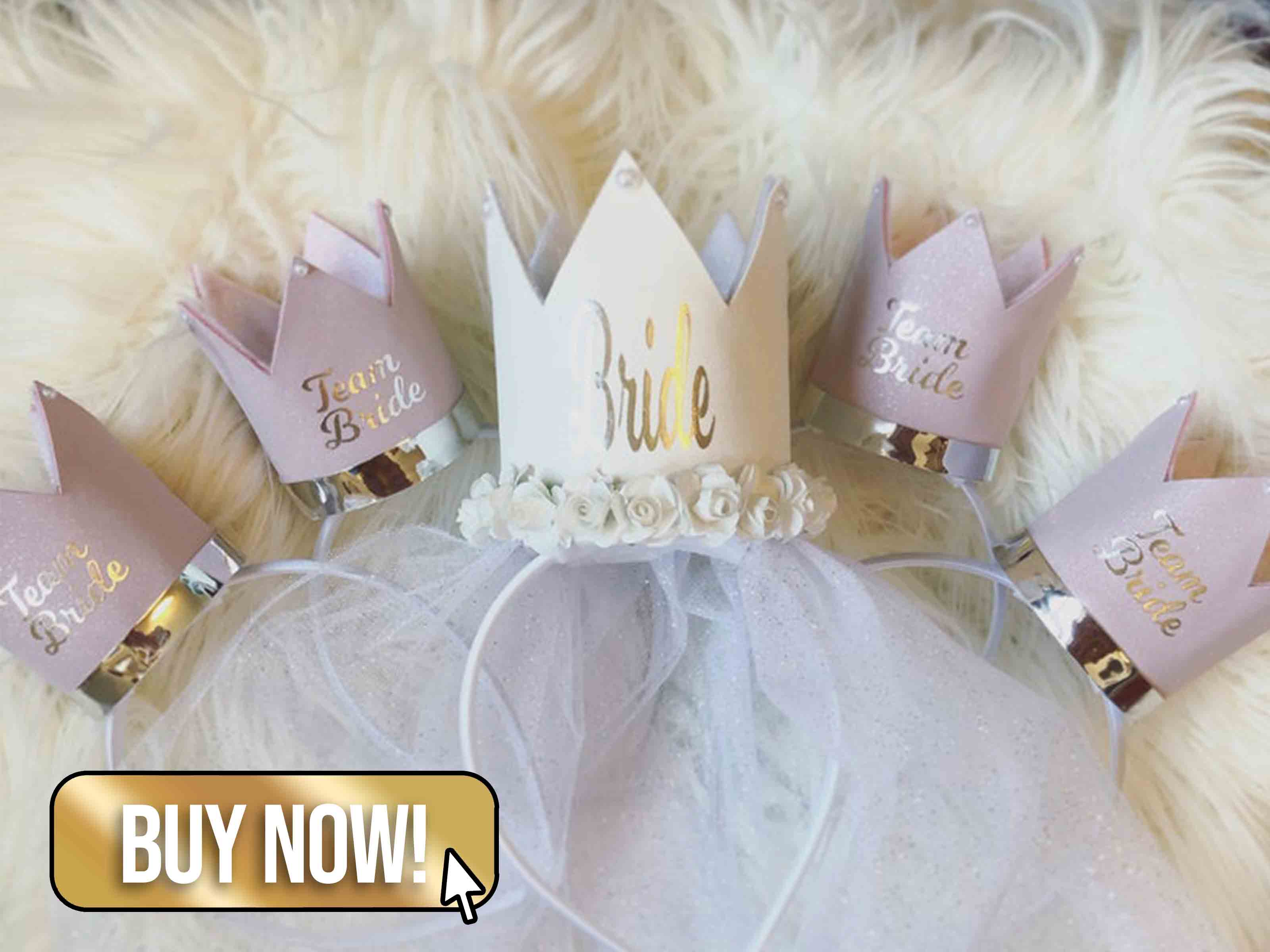 Lilac Glitter Suede Team Bride Bridal Shower Crowns - BunnyAndBearBows