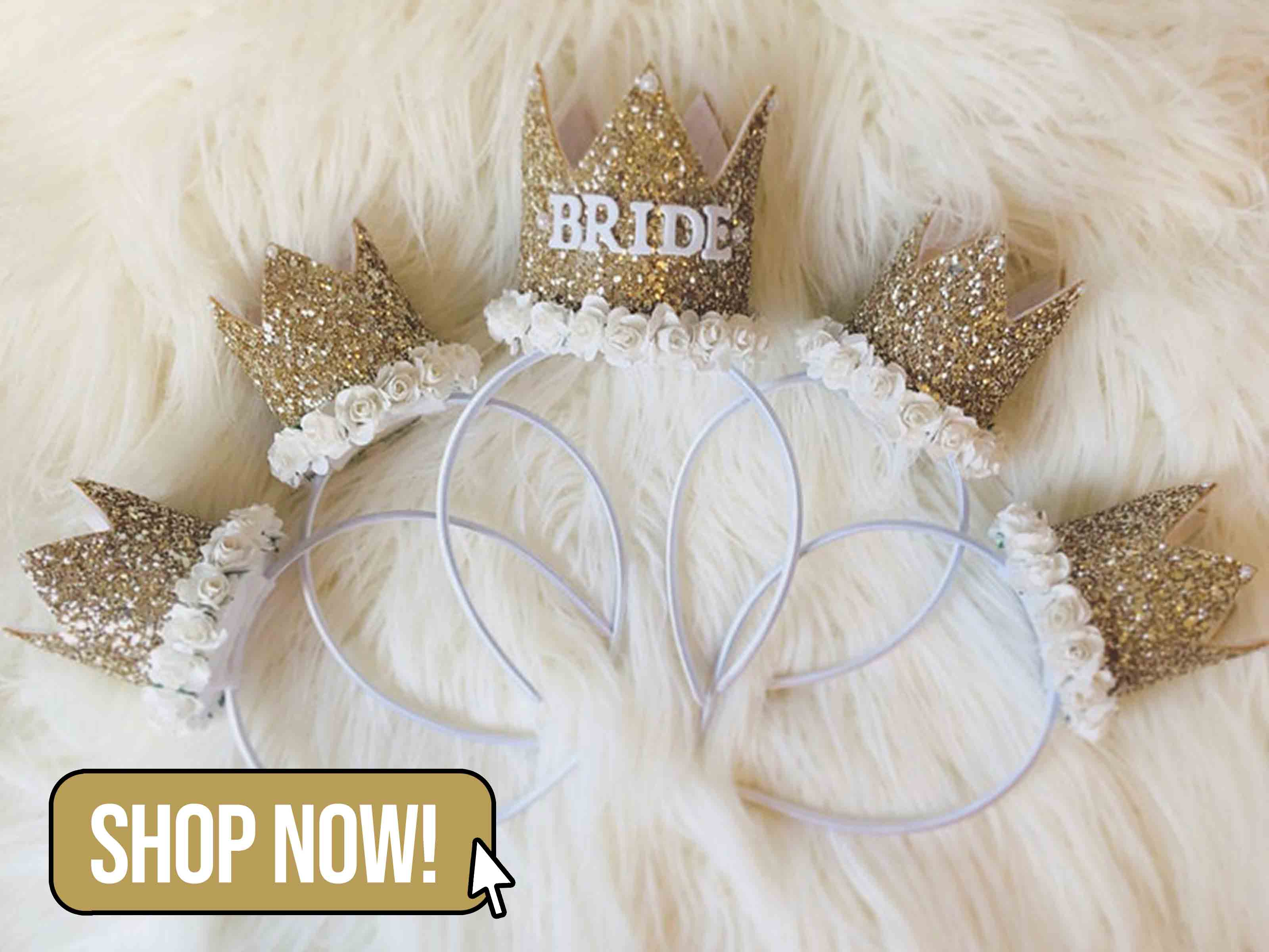 Gold Glitter Bride Crown With Matching Party Crowns - BunnyAndBearBows