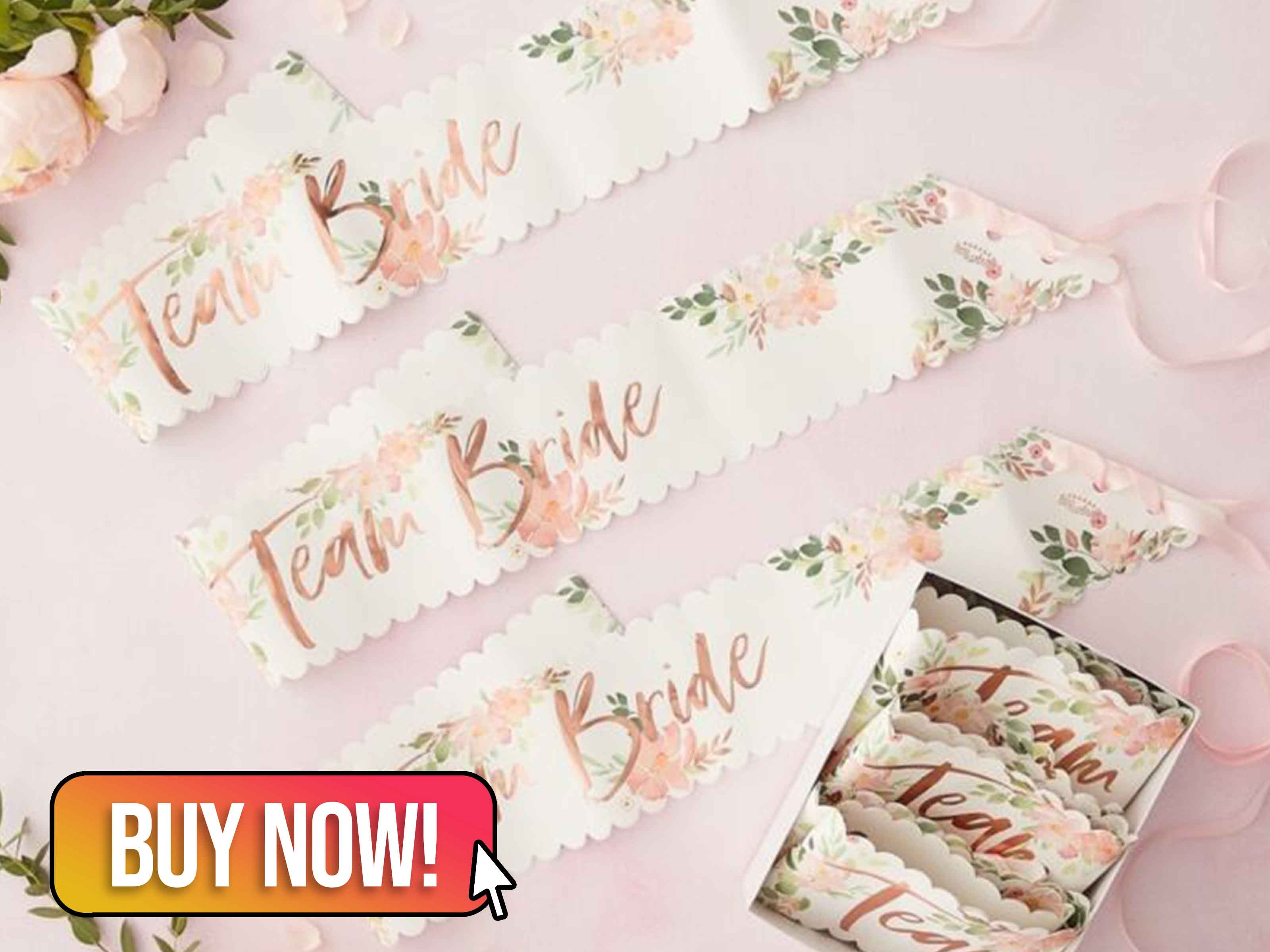 FLORAL TEAM BRIDE HEN PARTY SASHES - Ginger Ray