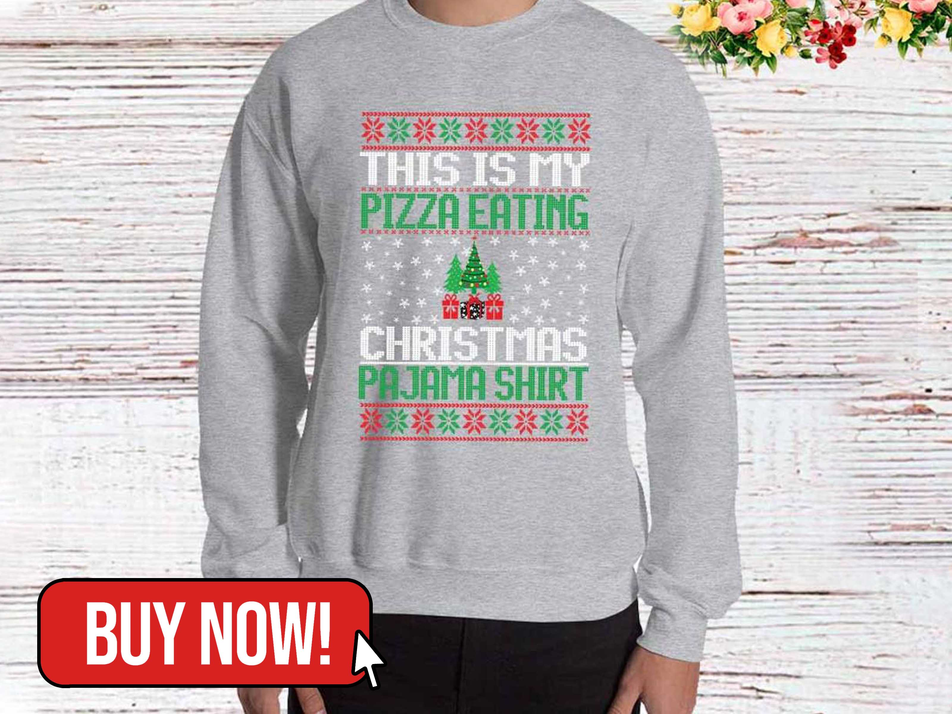 My Pizza Eating Christmas Sweater - craftsofhumanity