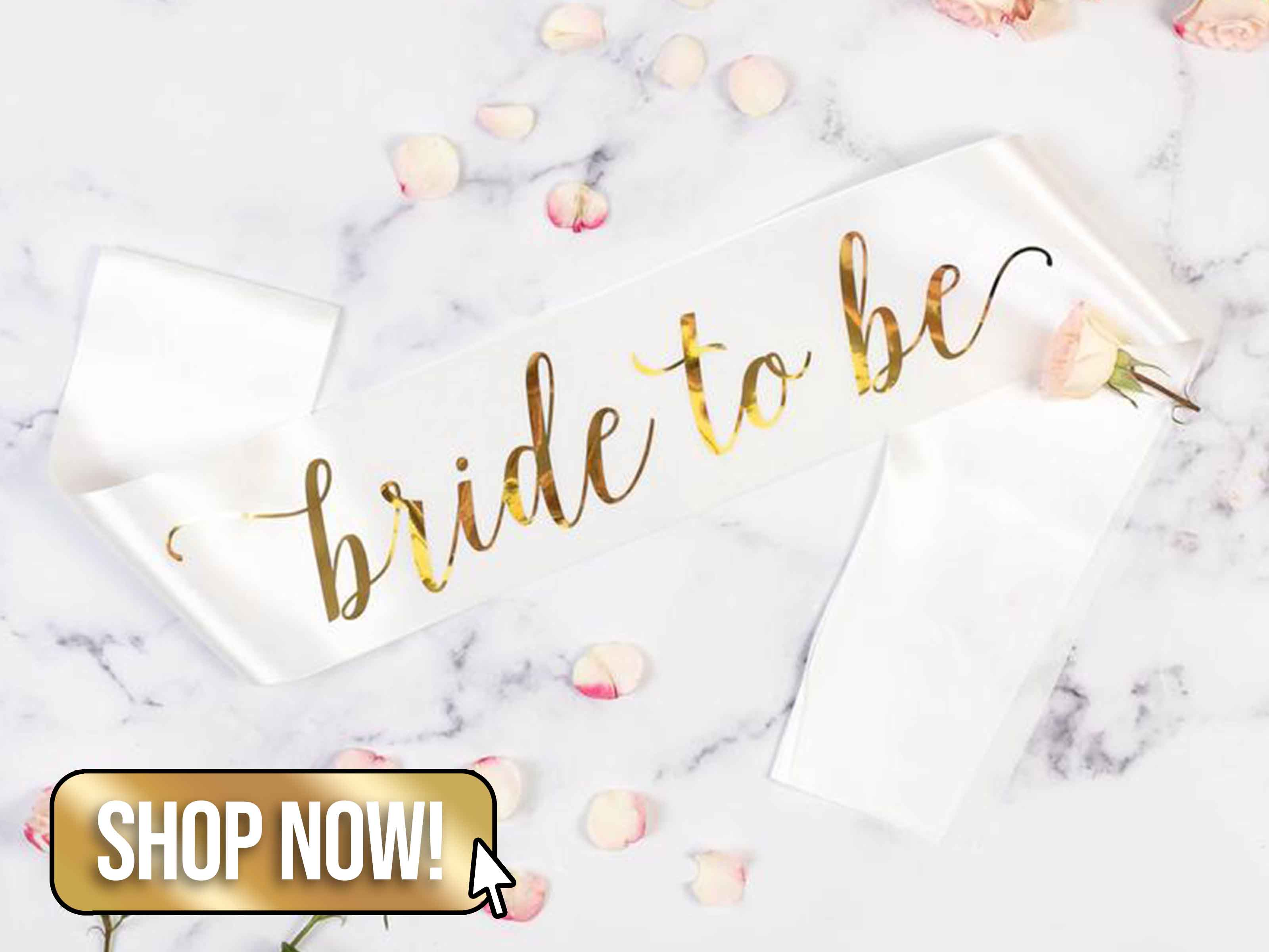 White Satin Bride to Be Sash - TeamHen