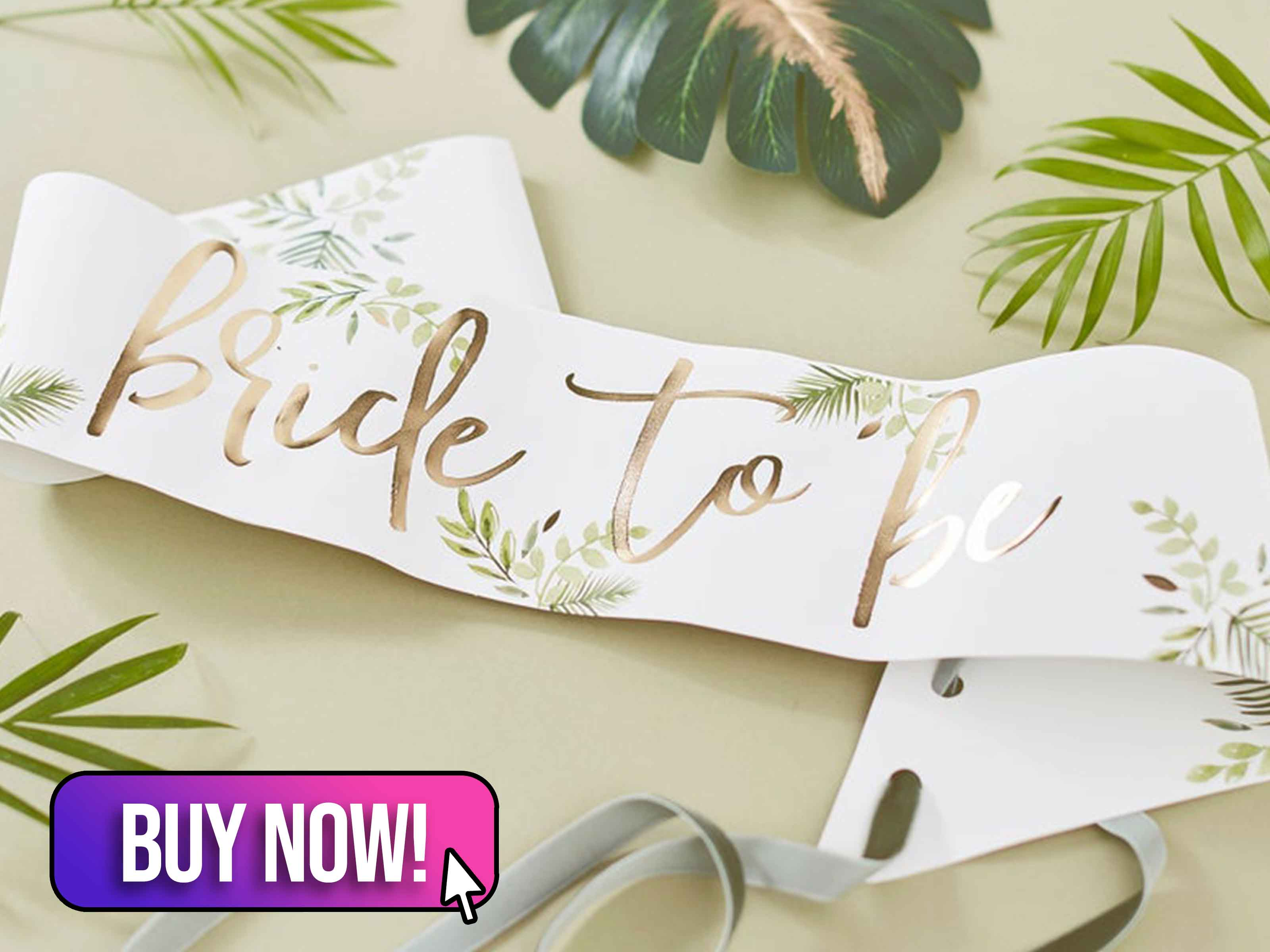 Bride to Be Botanical Hen Party Sash - OhPartyDays