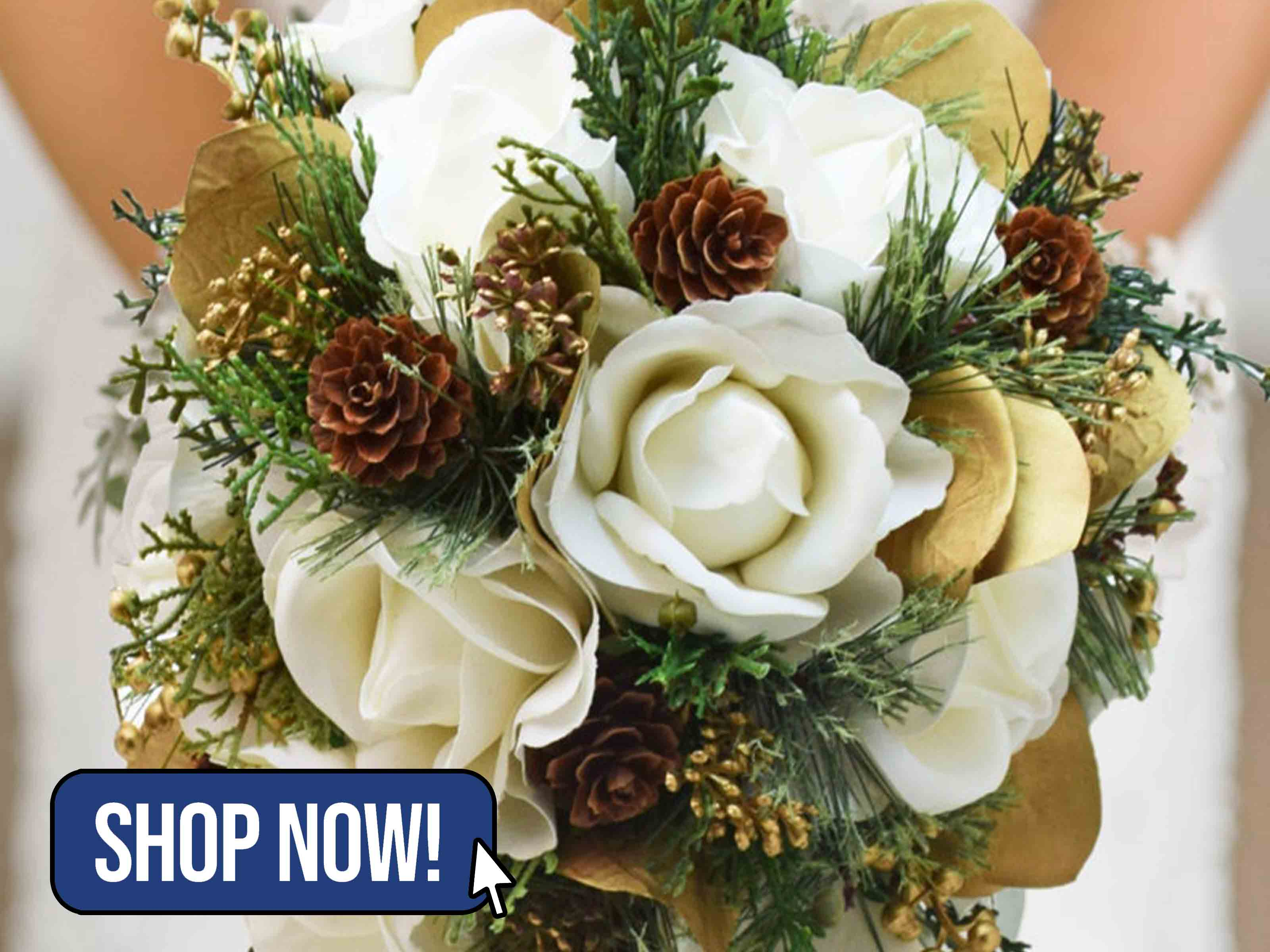 Winter Wedding Bridal Bouquet Evergreens - SongsFromTheGarden