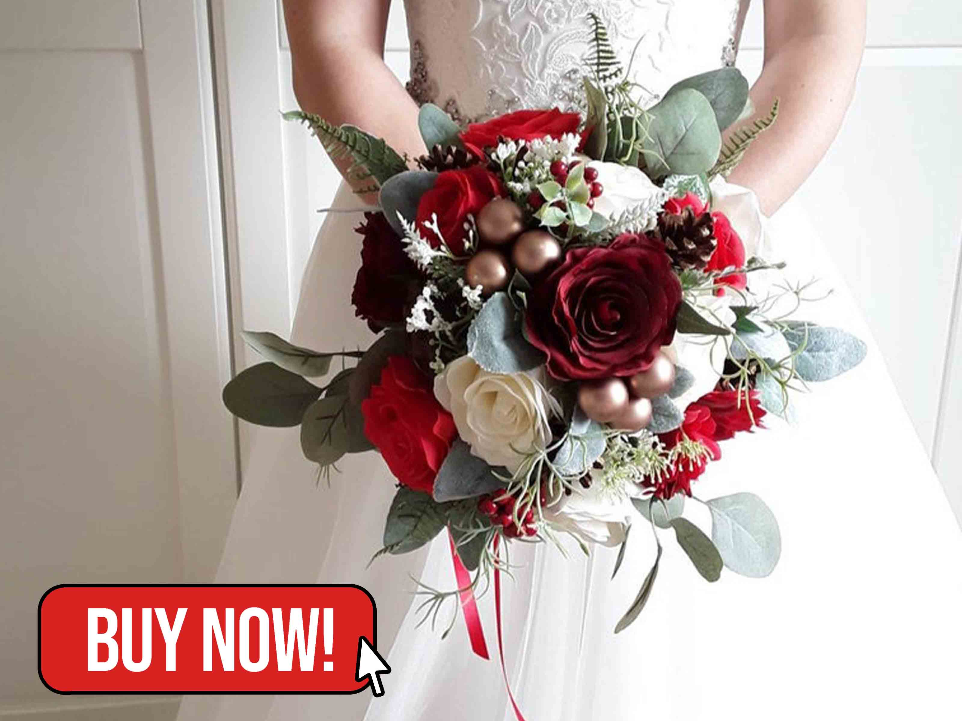 Red Bouquet Christmas Wedding Flowers - Botanicbluehandmade